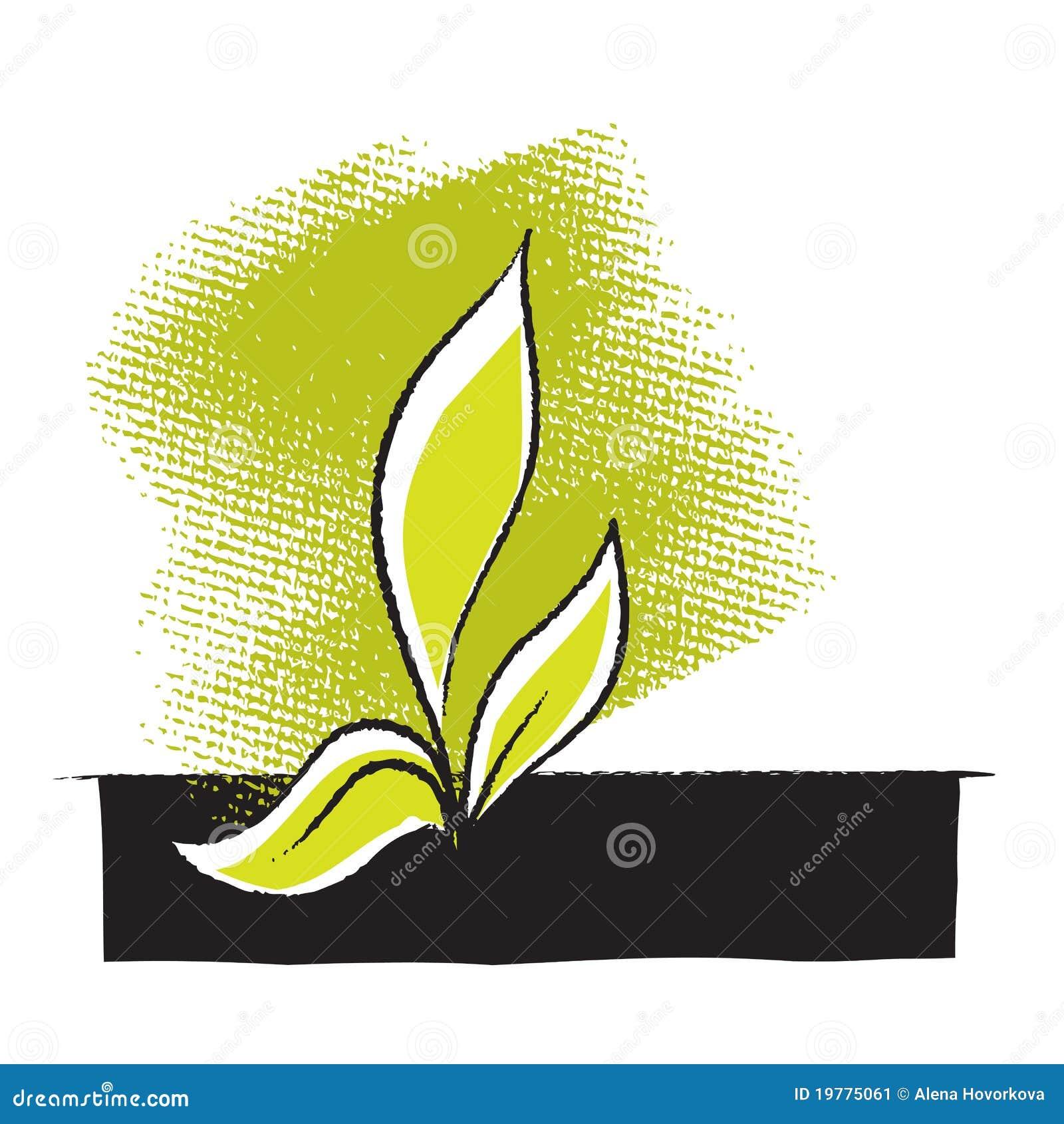 Tecknande frihandssymbolsväxtplanta