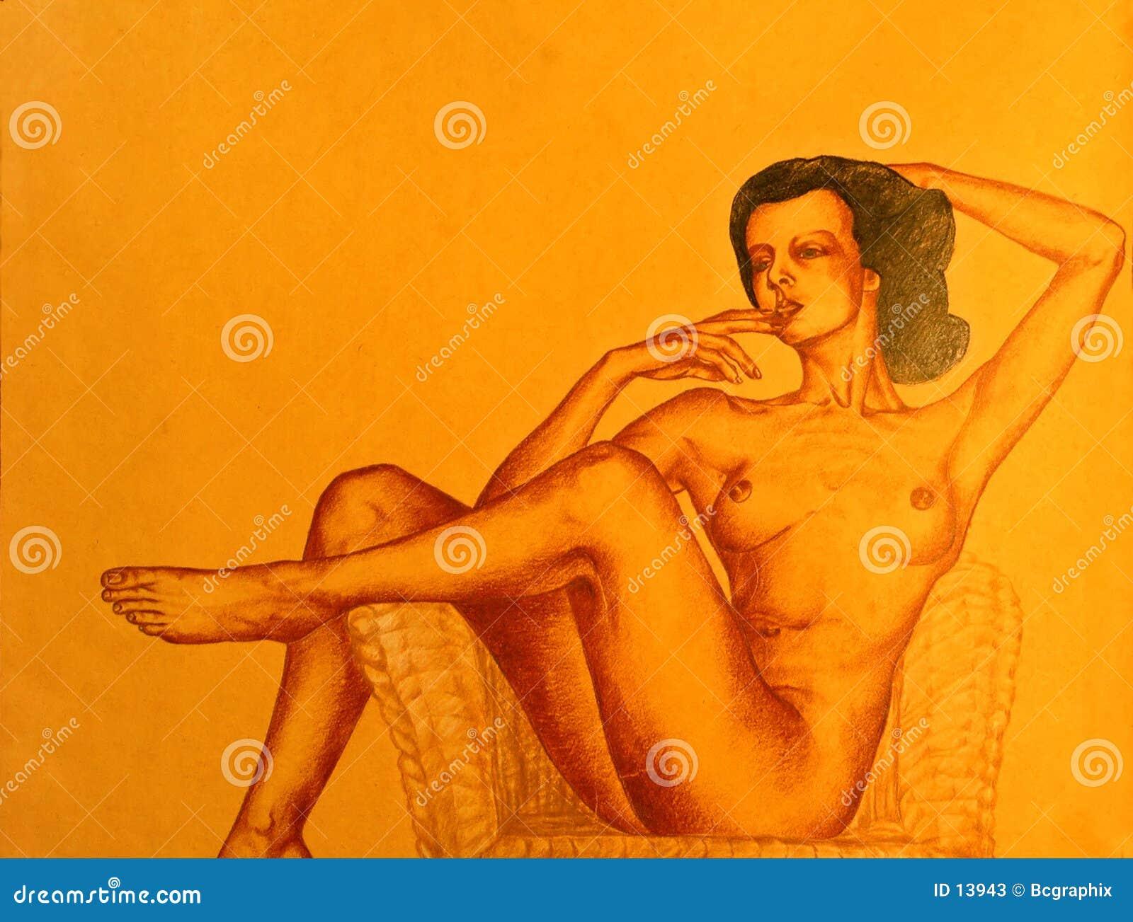 Tecknande naken posera kvinna