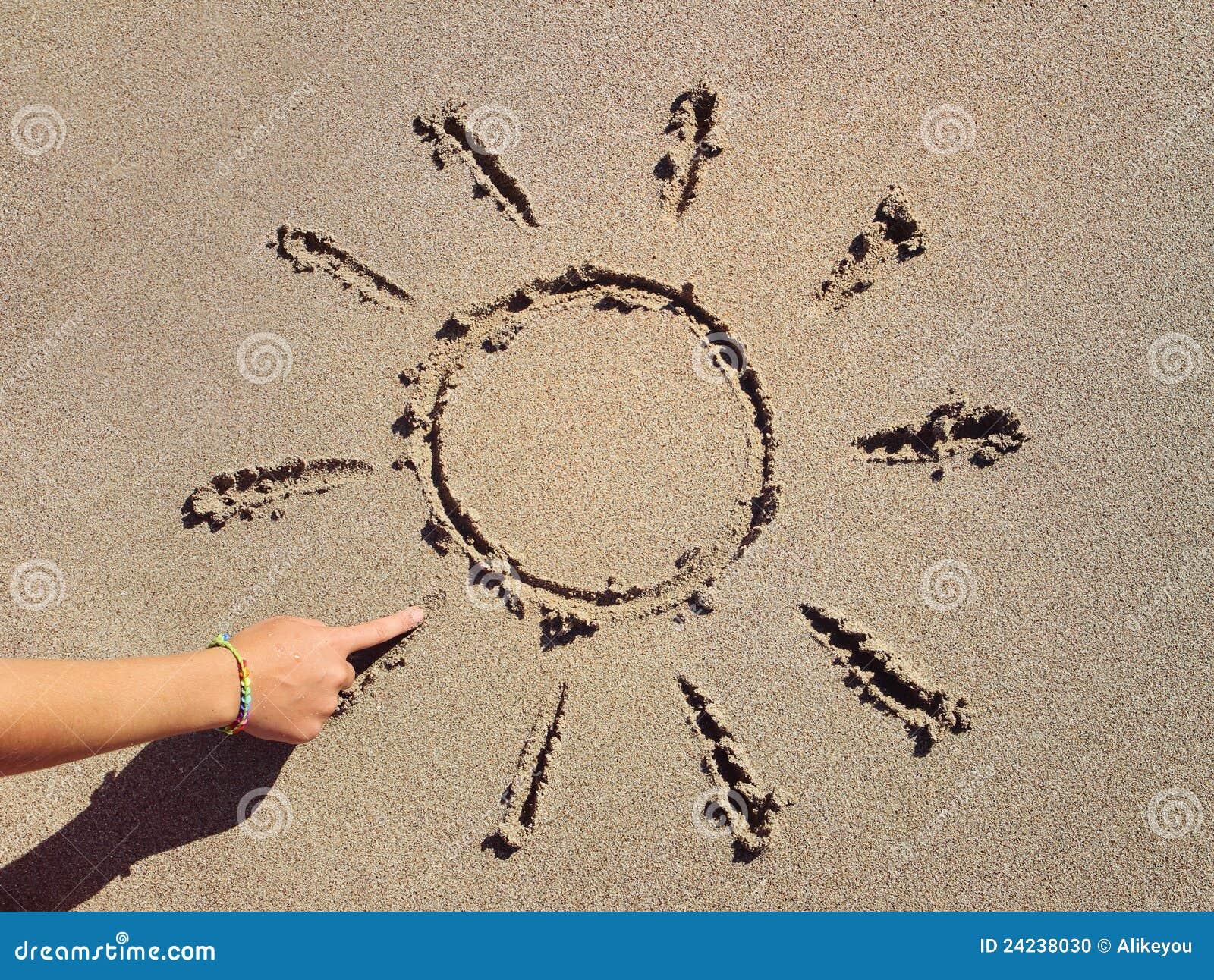 Tecknar fingerflickan hans sandsun