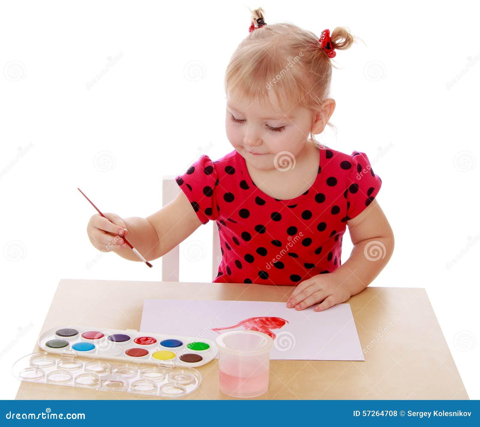 Tecknar flickamålarfärger