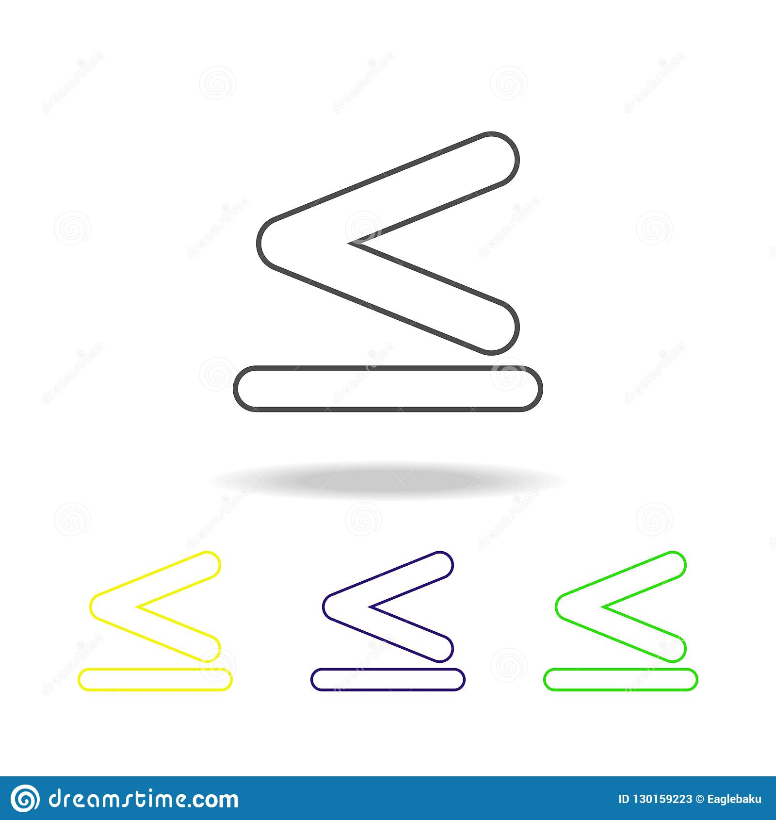Tecknet är mindre än och jämbördigt till mångfärgade symboler Tunn linje symbol för websitedesign och apputveckling Högvärdig kul