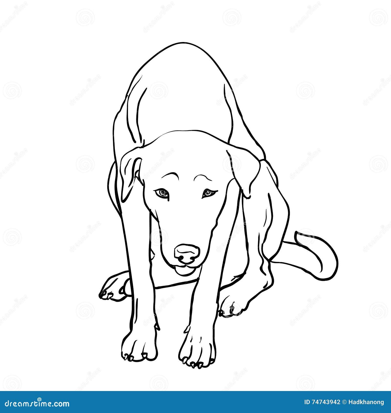 Teckning av den ledsna tillfälliga hunden