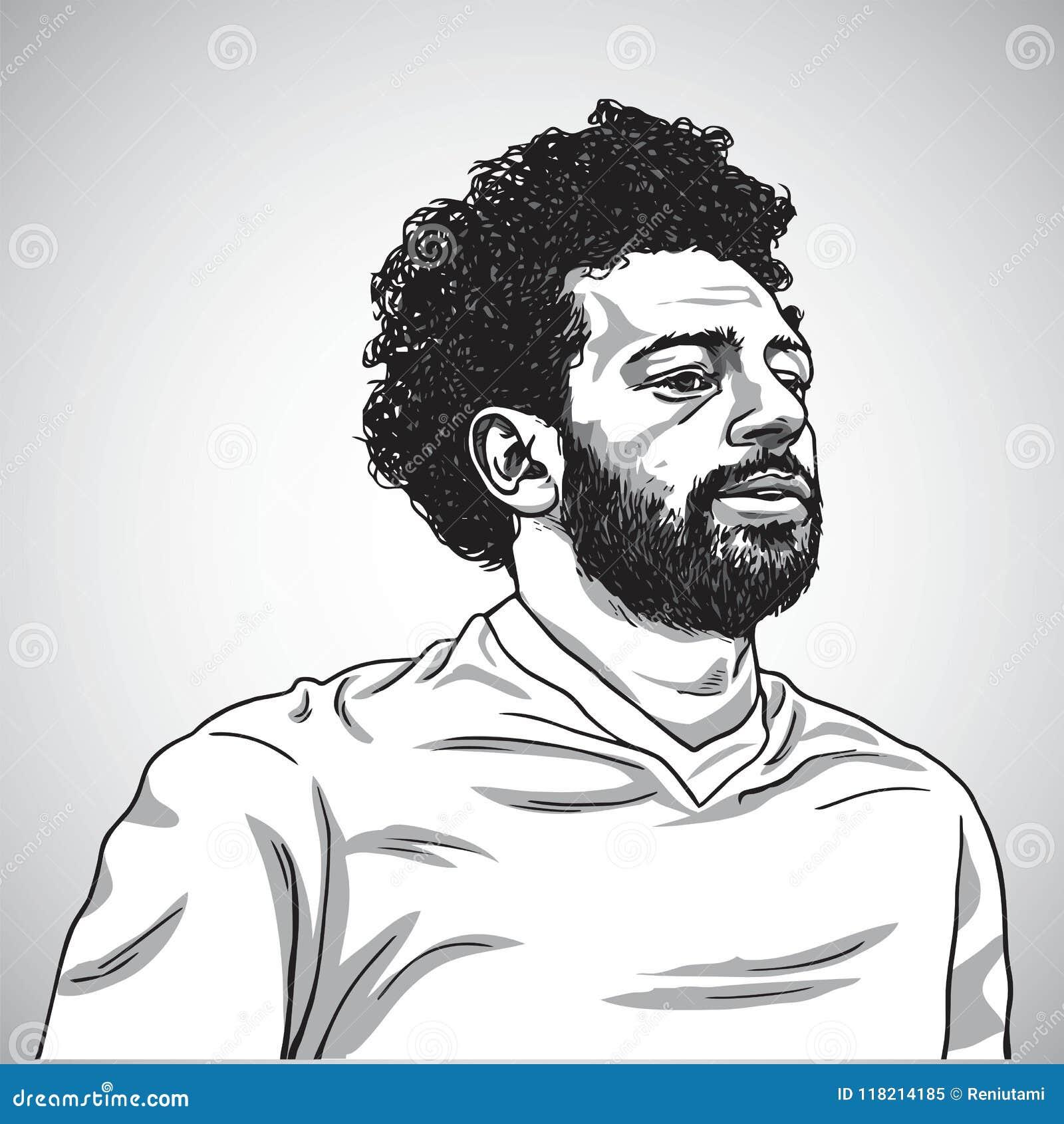 Teckning av den Mo Salah Vector Portrait Cartoon Caricature illustrationen Juni 5, 2018