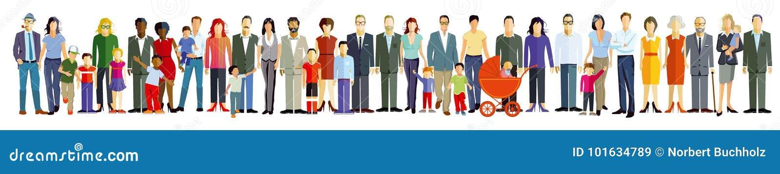 Teckning av folk i linje