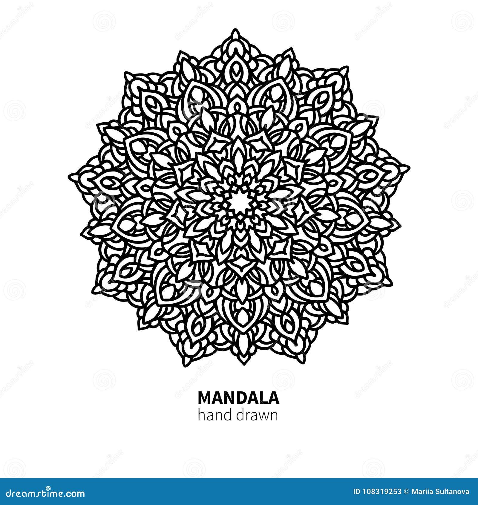 Teckning för Mandalablommavektor Dekorativ bohorundaprydnad