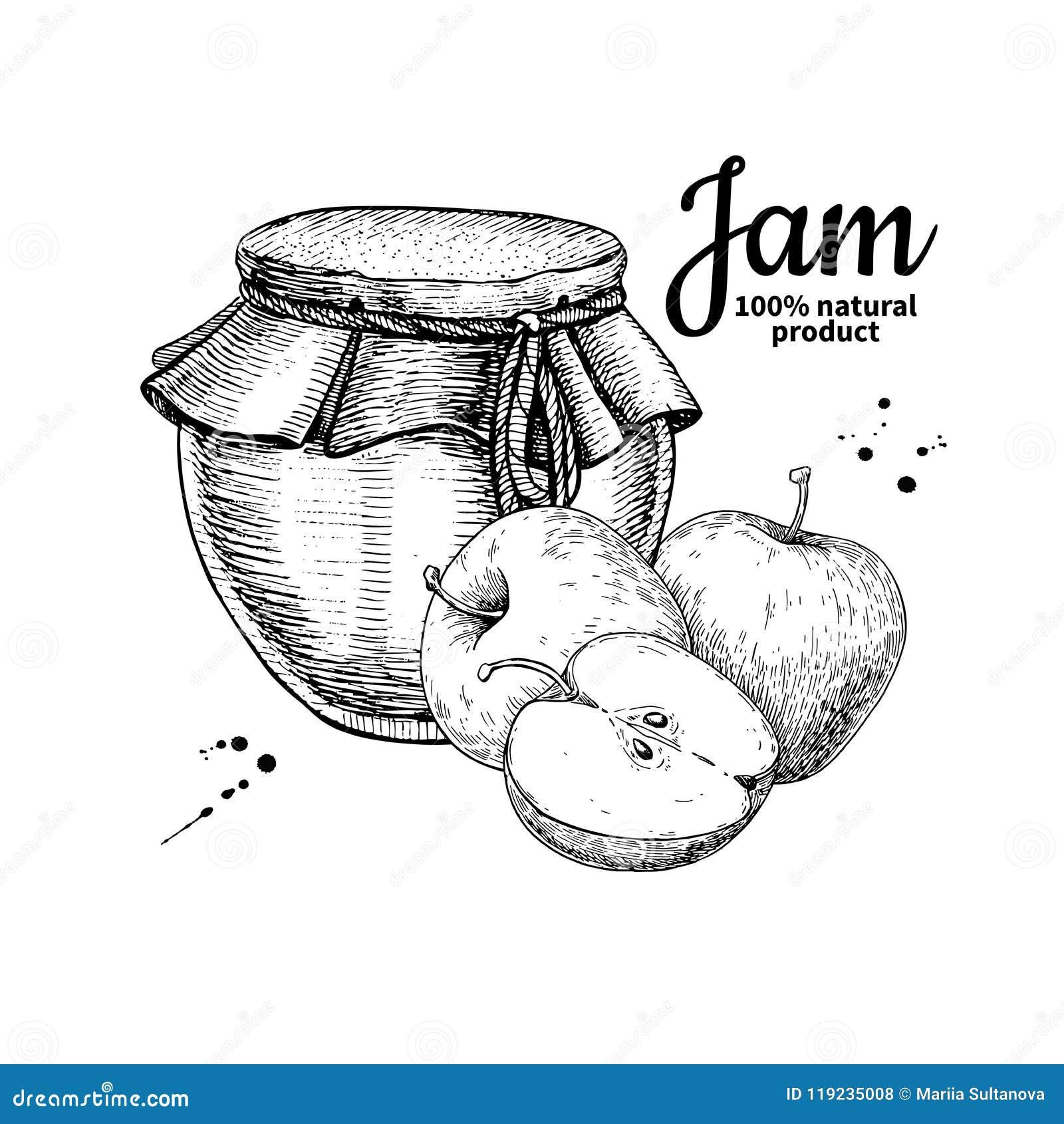 Teckning för vektor för krus för Apple driftstopp glass Fruktgelé och marmelad