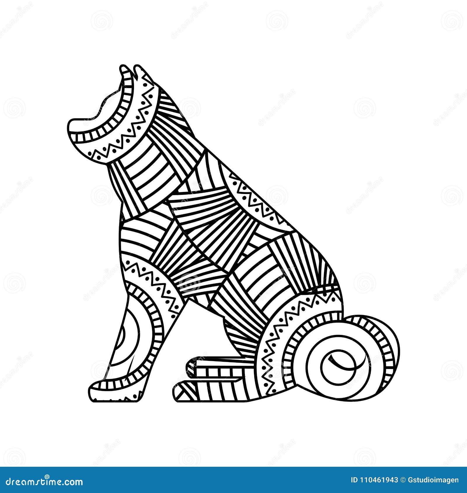 Teckningszentangle för sittande vuxen färgläggningsida för hund