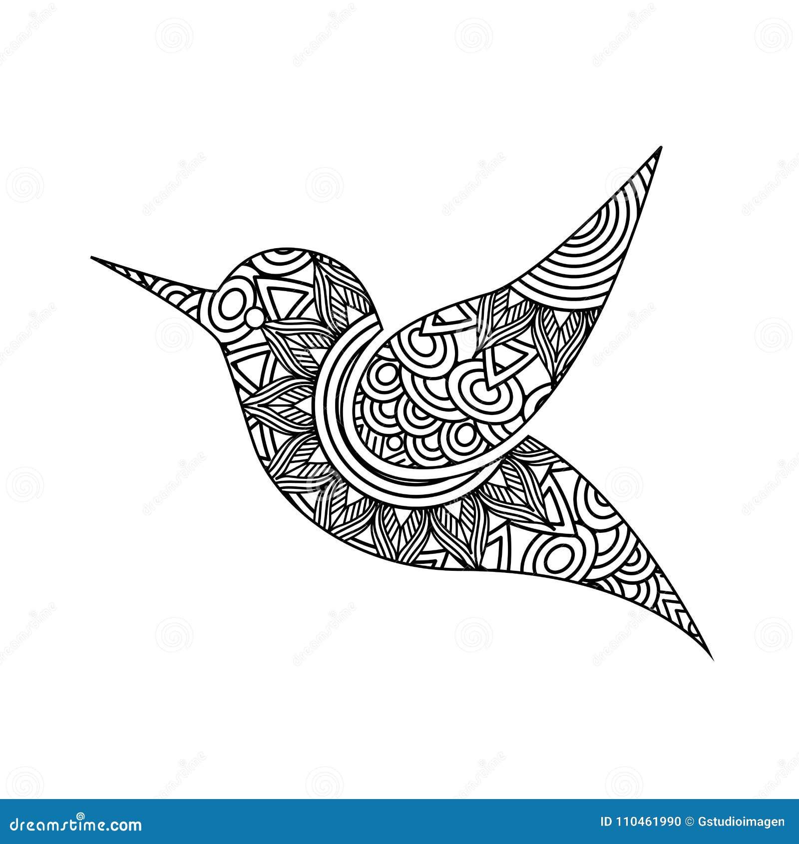 Teckningszentangle för vuxen färgläggningsida för fågel