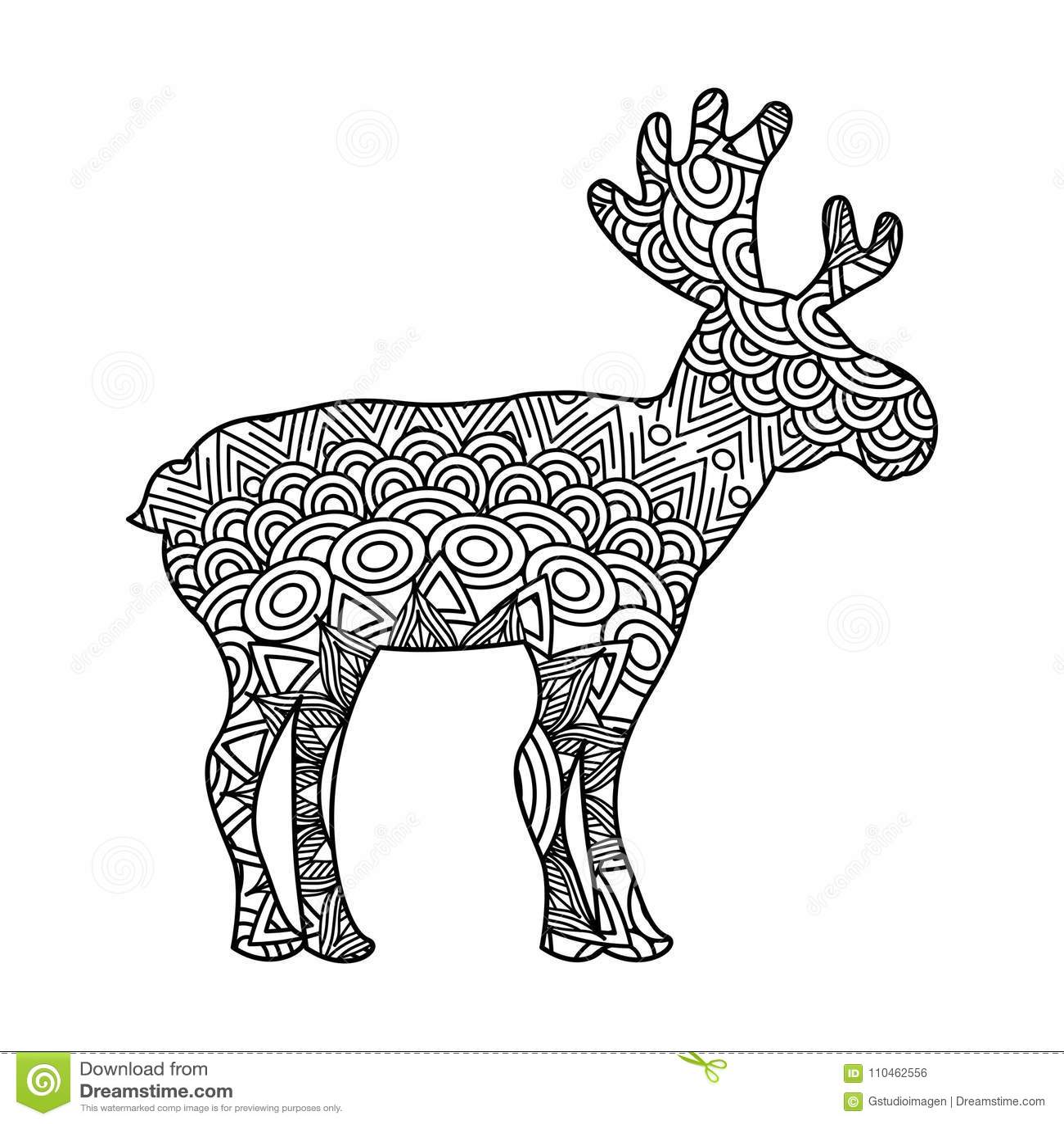 Teckningszentangle för vuxen färgläggningsida för hjortar
