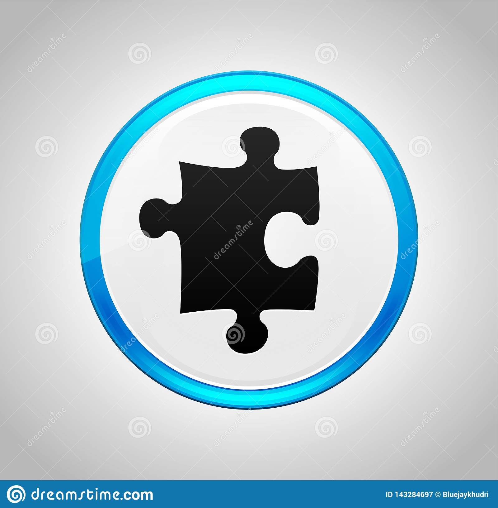 Tecla azul redonda do ícone do enigma