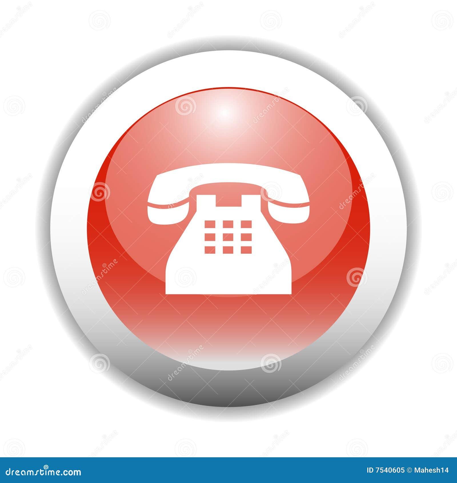 Tecla lustrosa do ícone do sinal do telefone