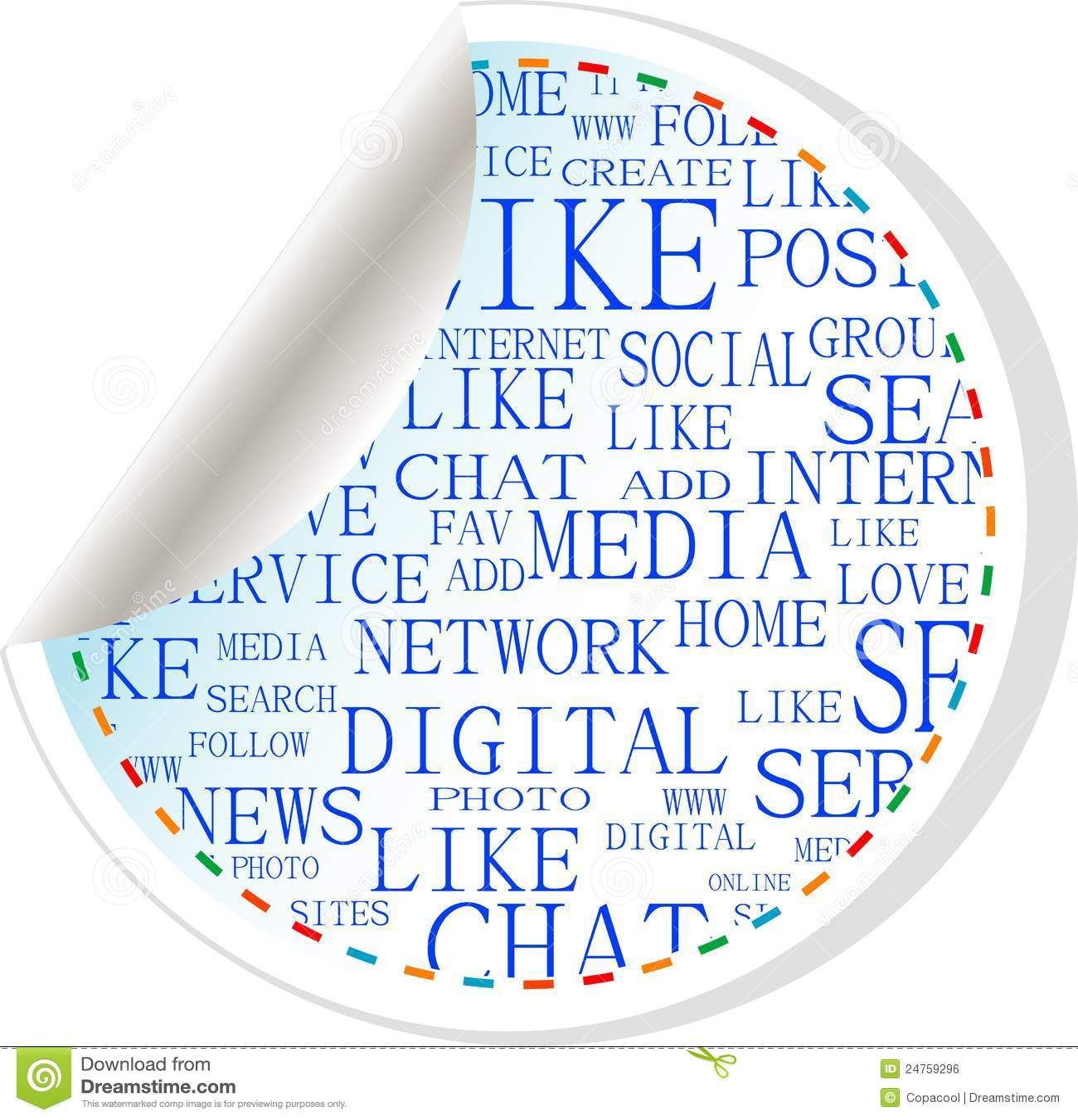 Tecla social dos media - etiqueta da etiqueta