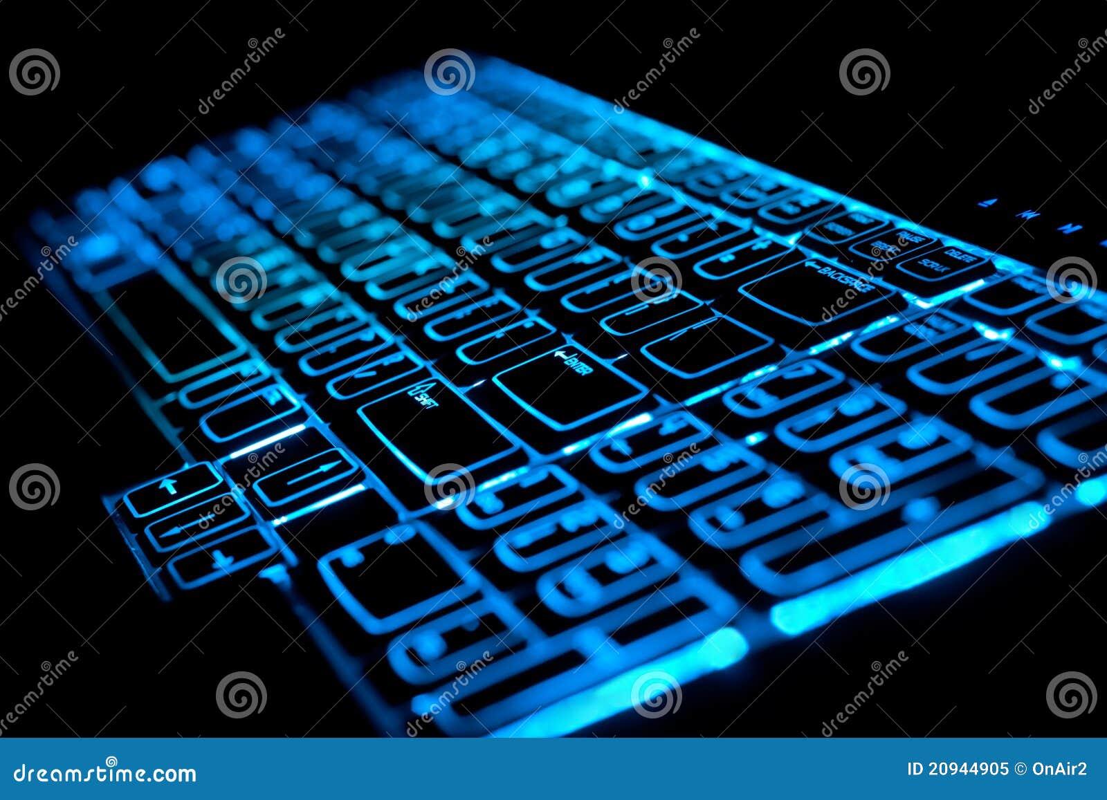 Teclado azul de la computadora port til del ordenador que - Foto teclado ordenador ...