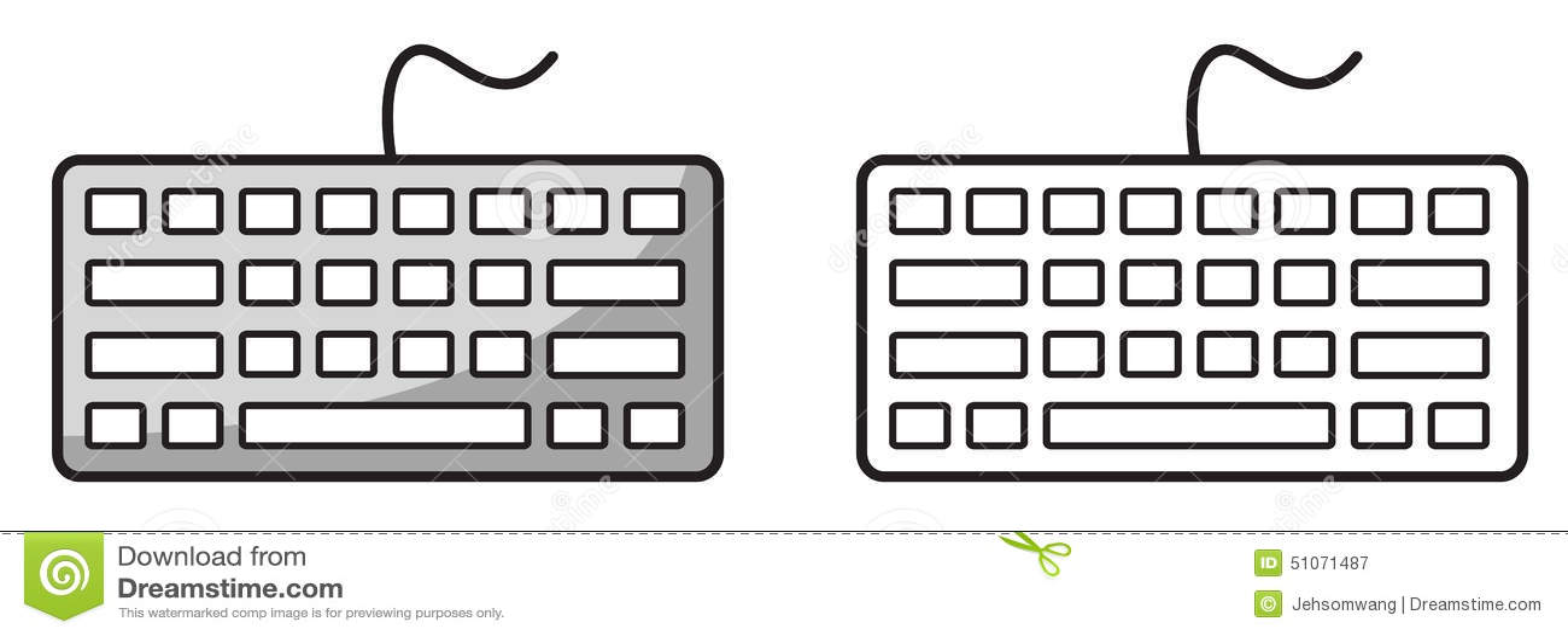 Teclado Colorido Y Blanco Y Negro Para El Libro De Colorear