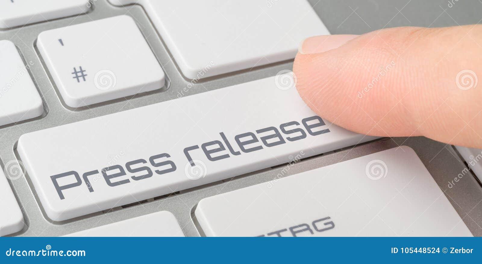Teclado com um botão etiquetado - comunicado de imprensa