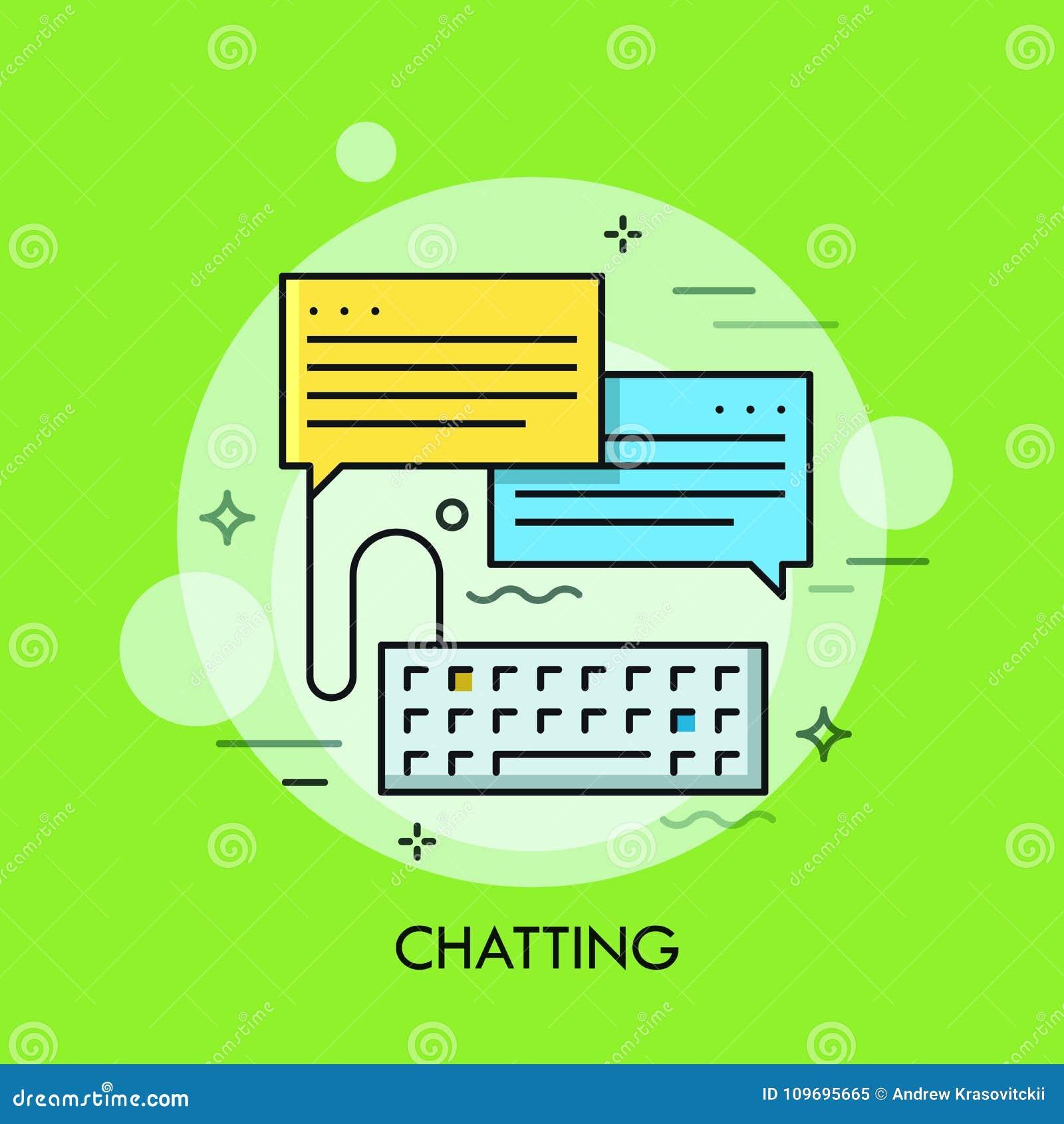 Teclado de computador e duas bolhas do discurso Conceito da conversa, mensagens instantâneas, conversação do Internet, em linha