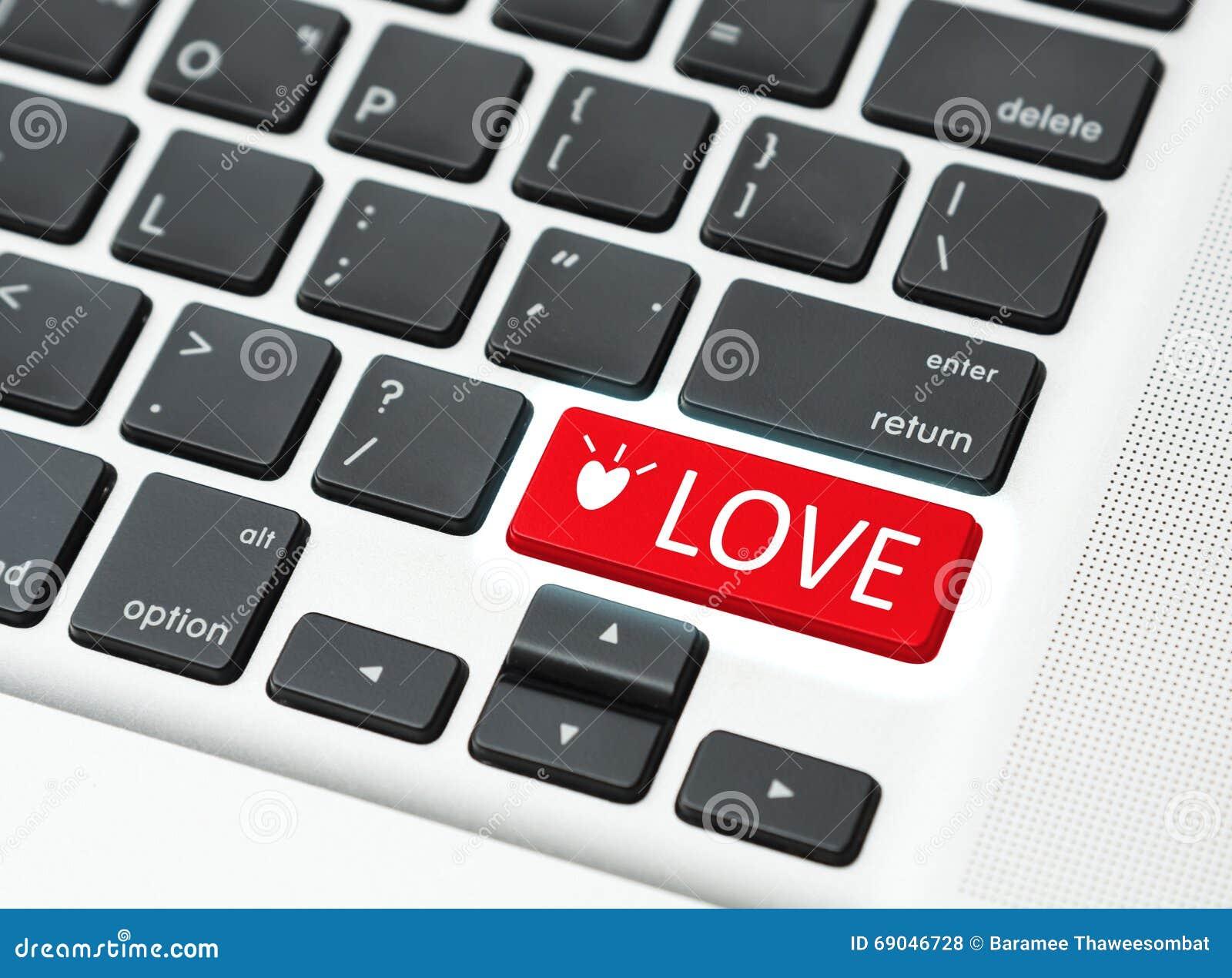 Teclado do botão do amor (conceito em linha do amor)