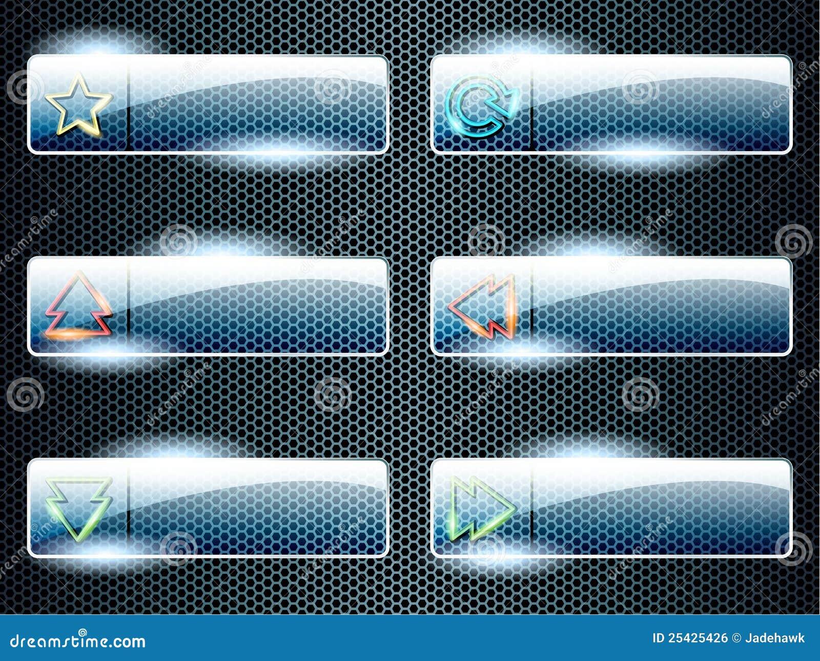 Teclas de vidro transparentes retangulares