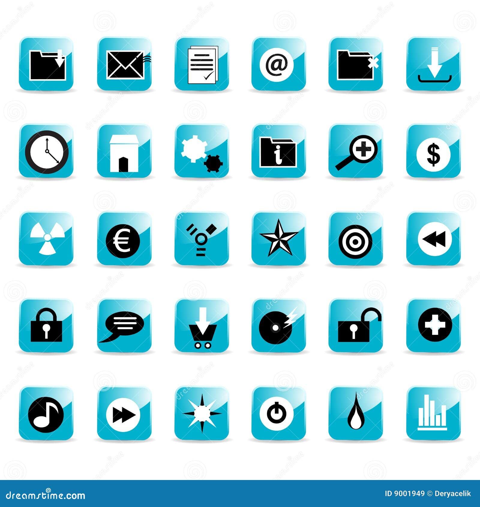 Teclas lustrosas do ícone do Web