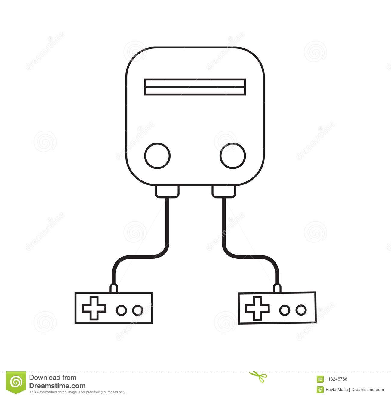 Retro Video Game Console Outline Stock Vector Illustration Of - Video game outline