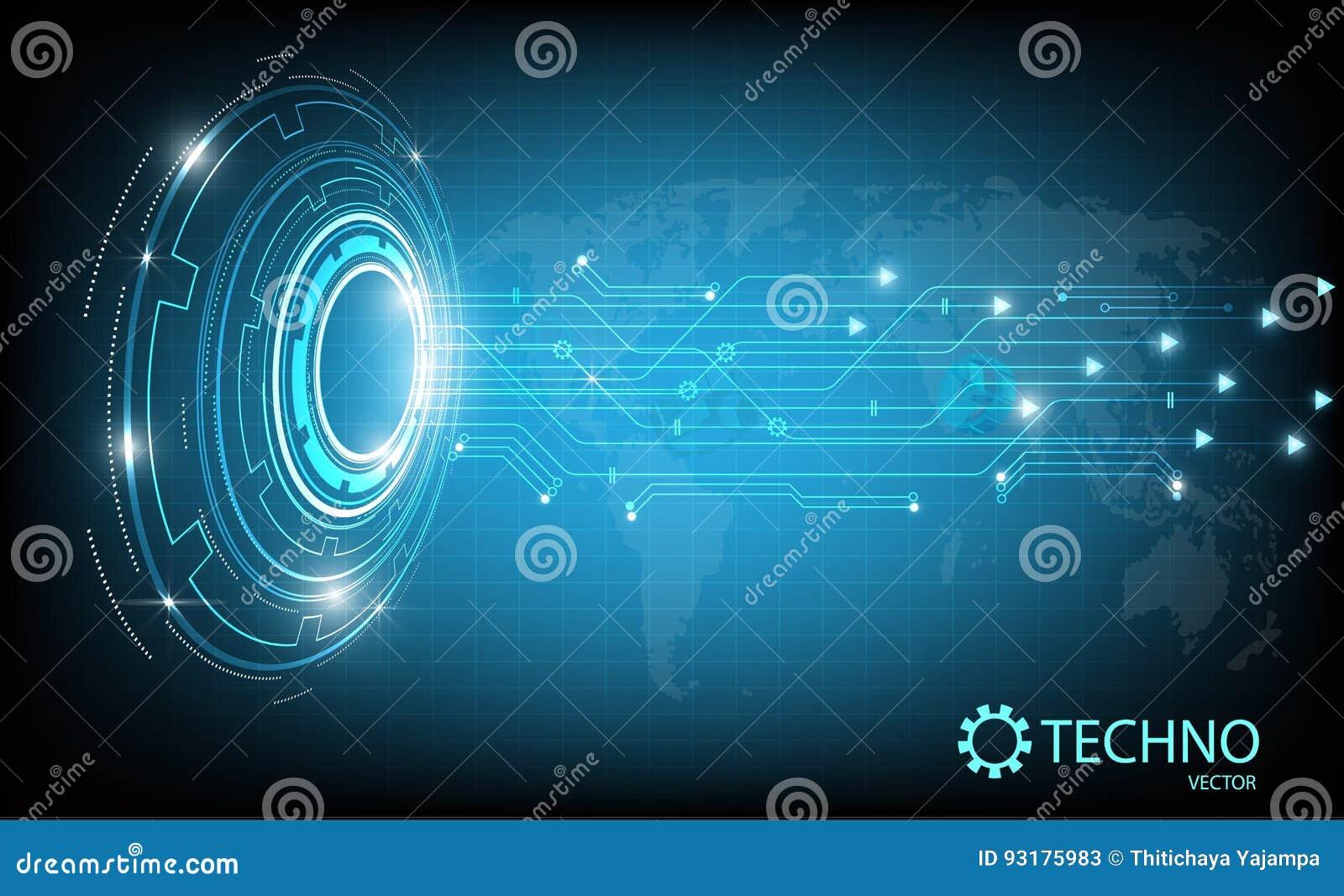 Tecnología abstracta del círculo con el mapa de la tierra en fondo azul Ilustración del vector