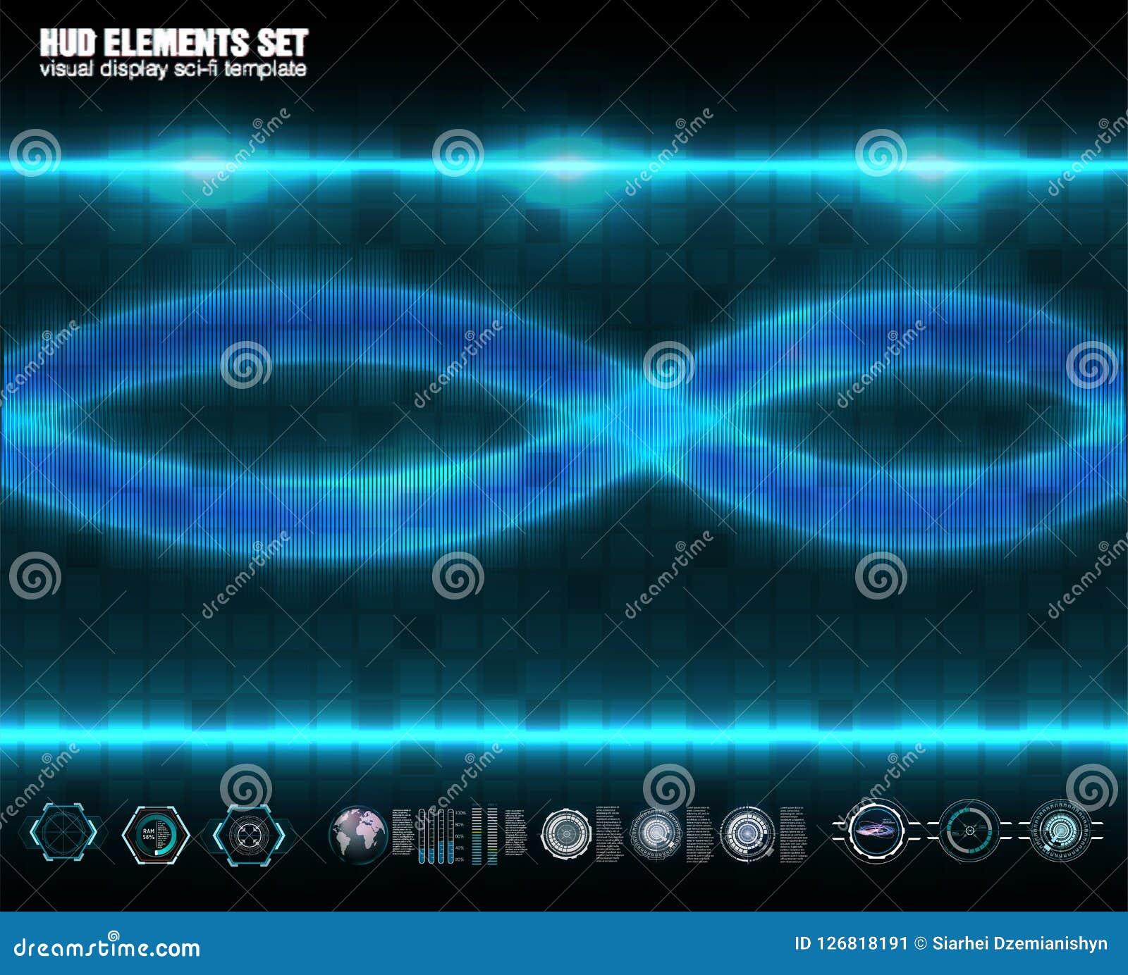 Tecnología abstracta, interfaz futurista del hud del concepto del ui, comunicación, computando, DNA, elementos del holograma de l