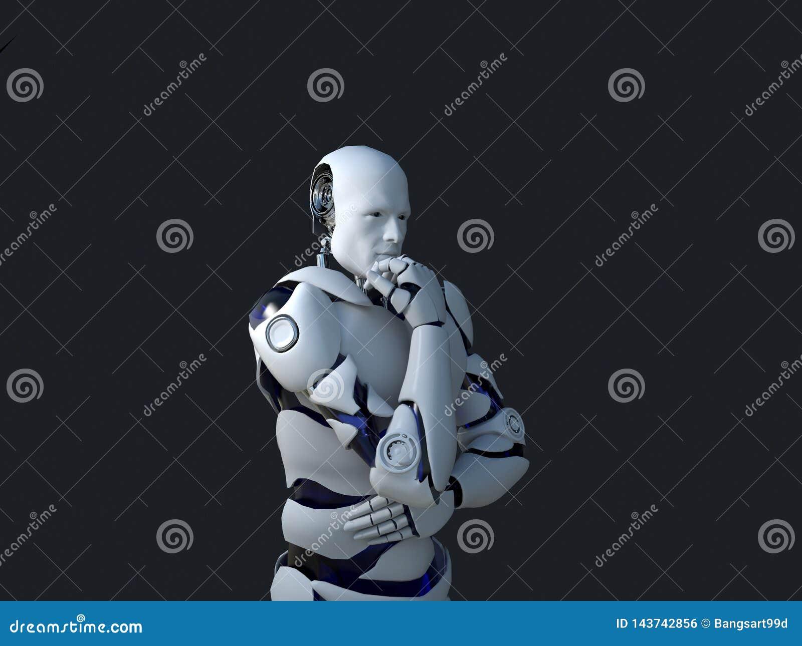 Tecnología blanca del robot que está pensando y de hecho su barbilla tecnología en el futuro, en un fondo negro