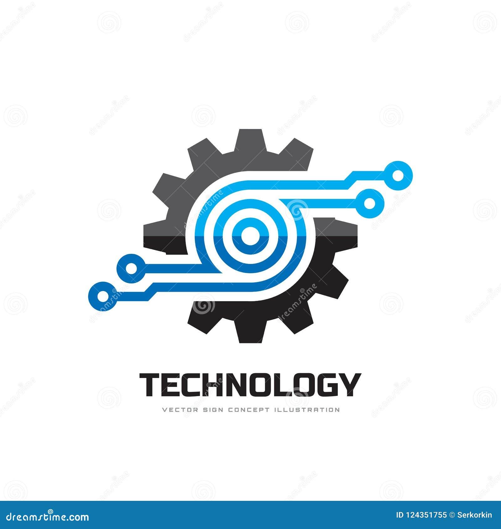 Tecnología de Digitaces - vector el ejemplo del concepto de la plantilla del logotipo del negocio Muestra electrónica de la fábri