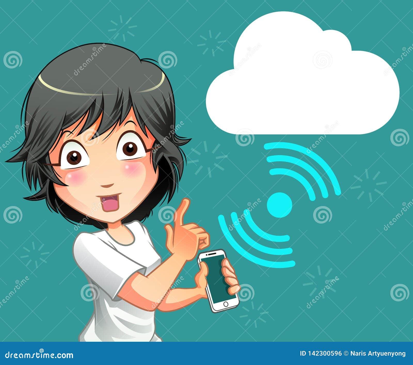 Tecnología de la conexión del teléfono móvil y de la nube