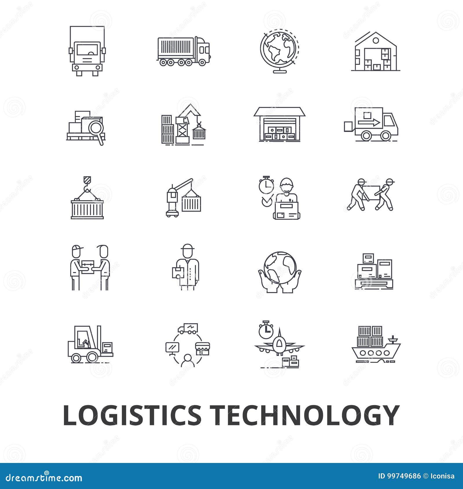Tecnología de la logística, transporte, cadena de suministro, sistema de envío, almacén, línea iconos del cargo Movimientos Edita