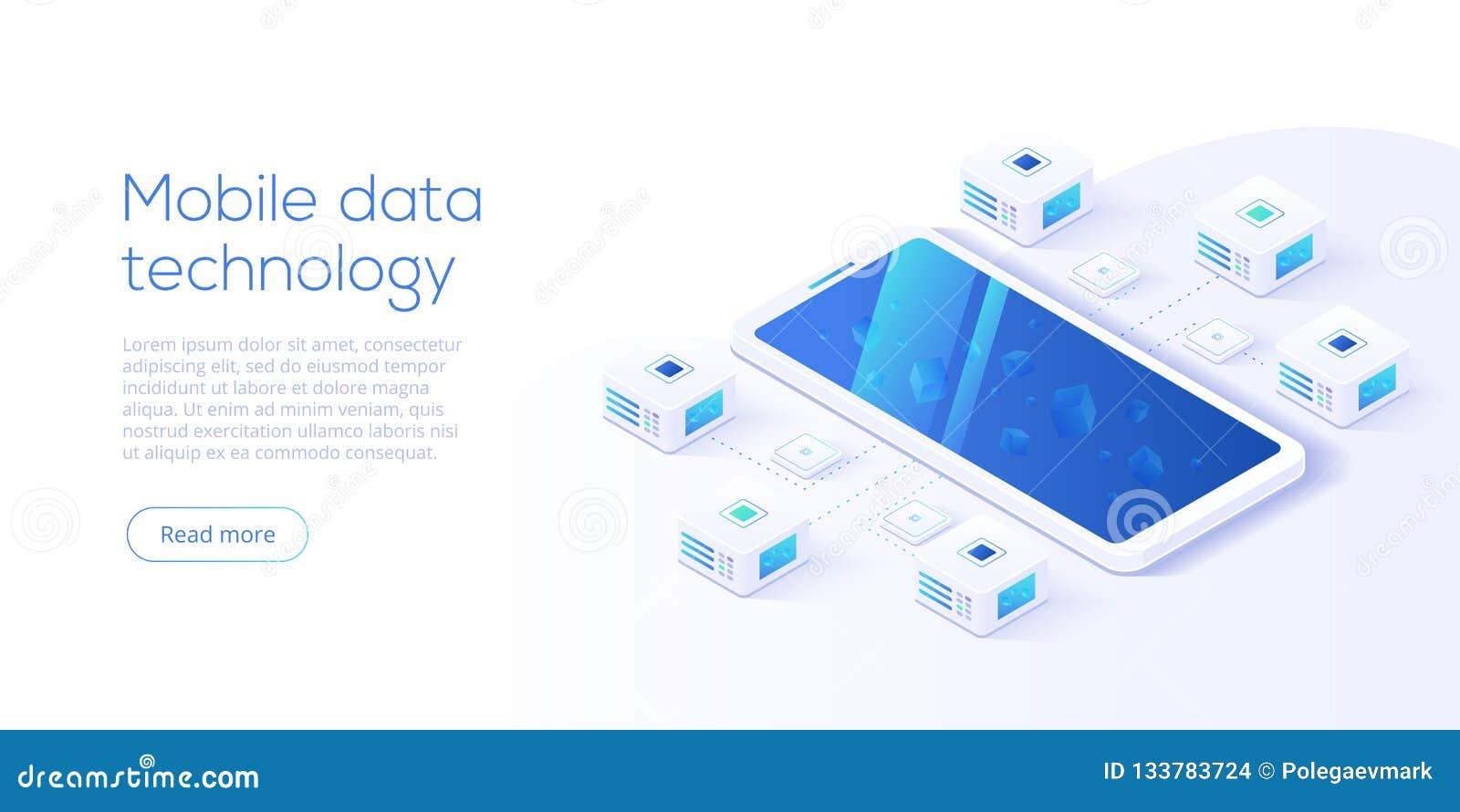 Tecnología de proceso de datos móvil en illustrati isométrico del vector