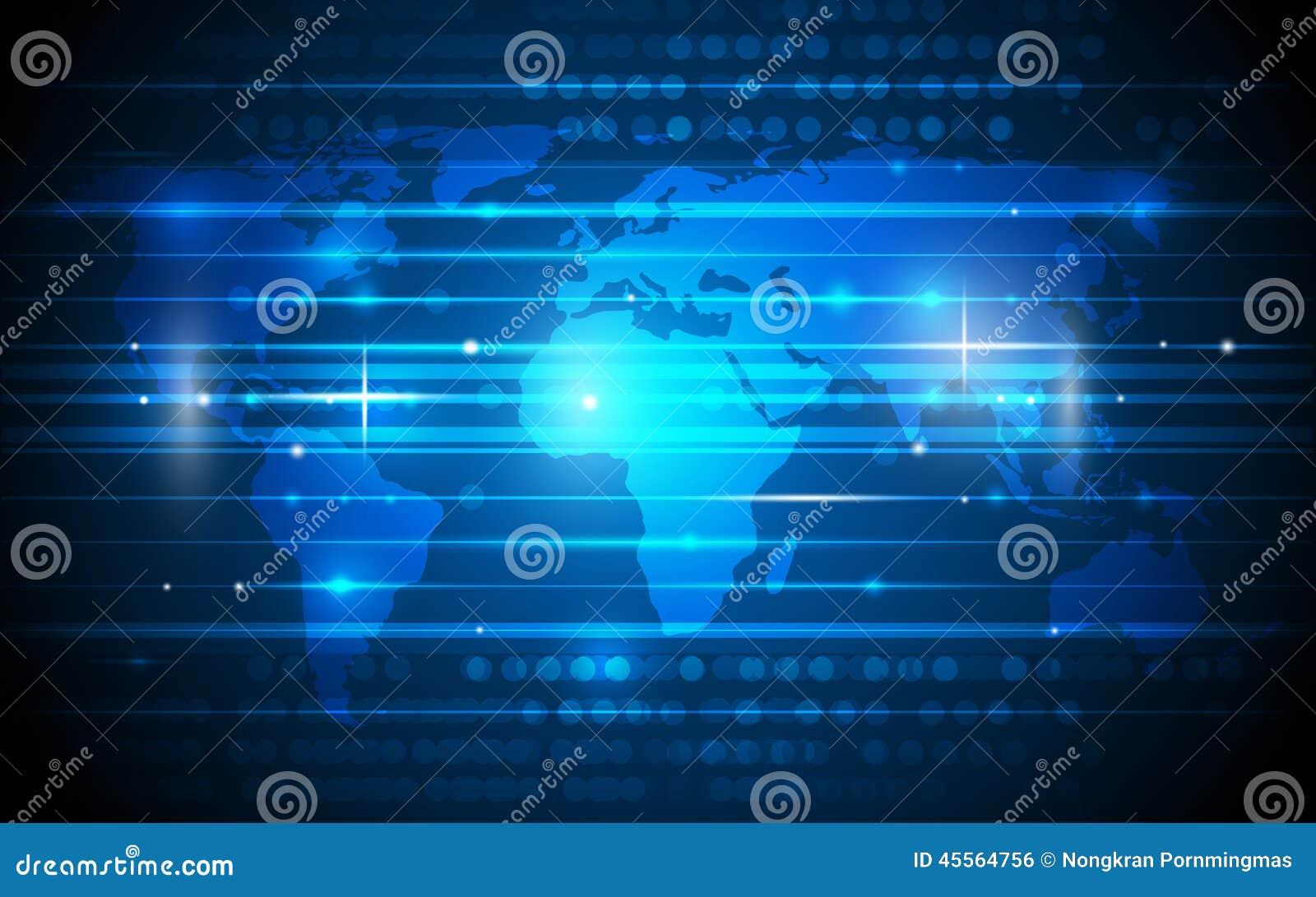 Tecnología digital futura con el mapa del mundo