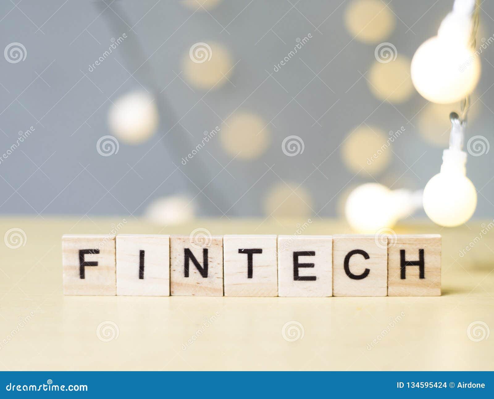 Tecnología Fintech, concepto de las finanzas de las citas de las palabras del negocio