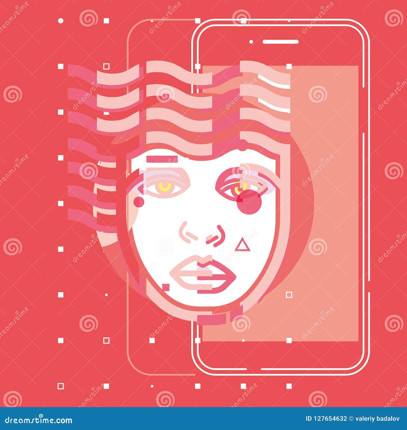Tecnología futura app, diseño plano del cerebro digital de la inteligencia artificial del vector del concepto