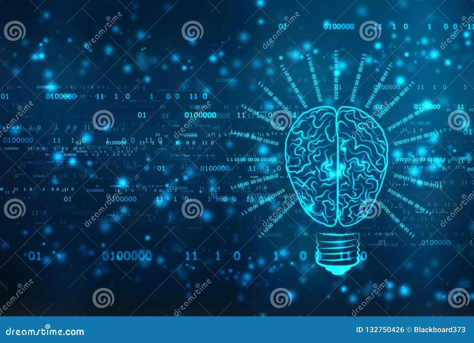Tecnología futura del bulbo con el cerebro, fondo de la innovación, concepto de la inteligencia artificial