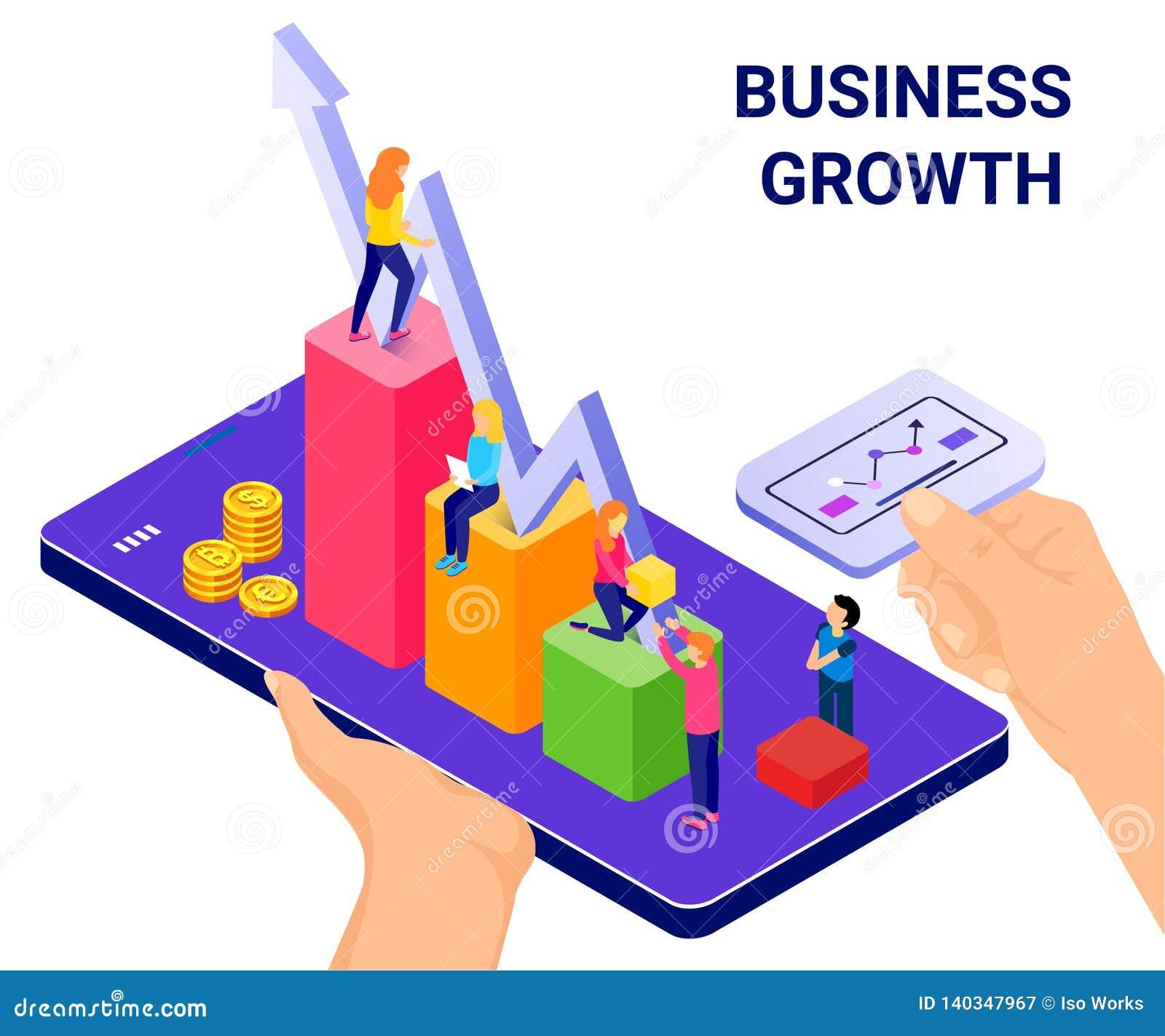 Tecnología isométrica del concepto de las ilustraciones que ayuda a los negocios para crecer