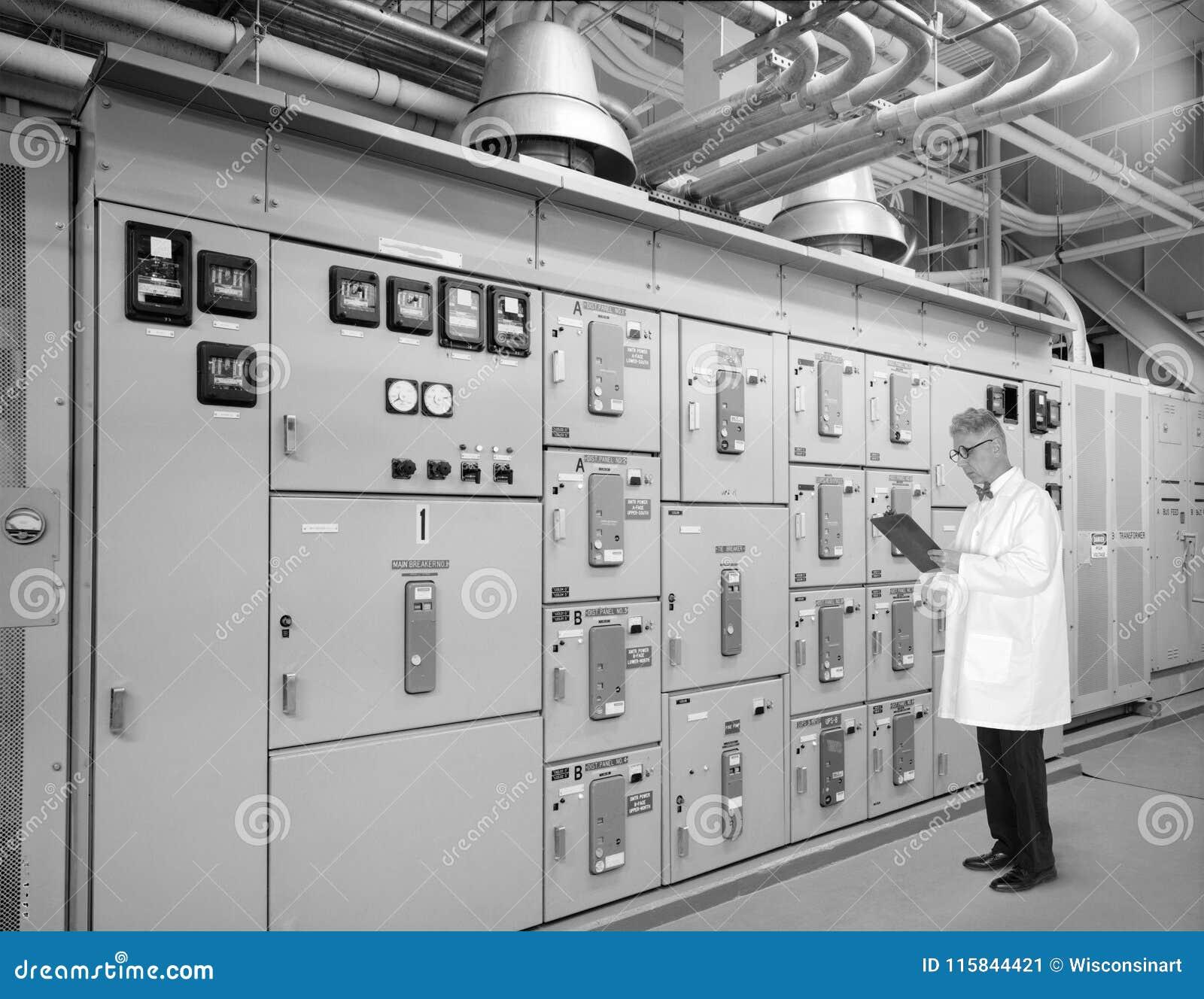 Tecnología retra del vintage, ingeniero, científico