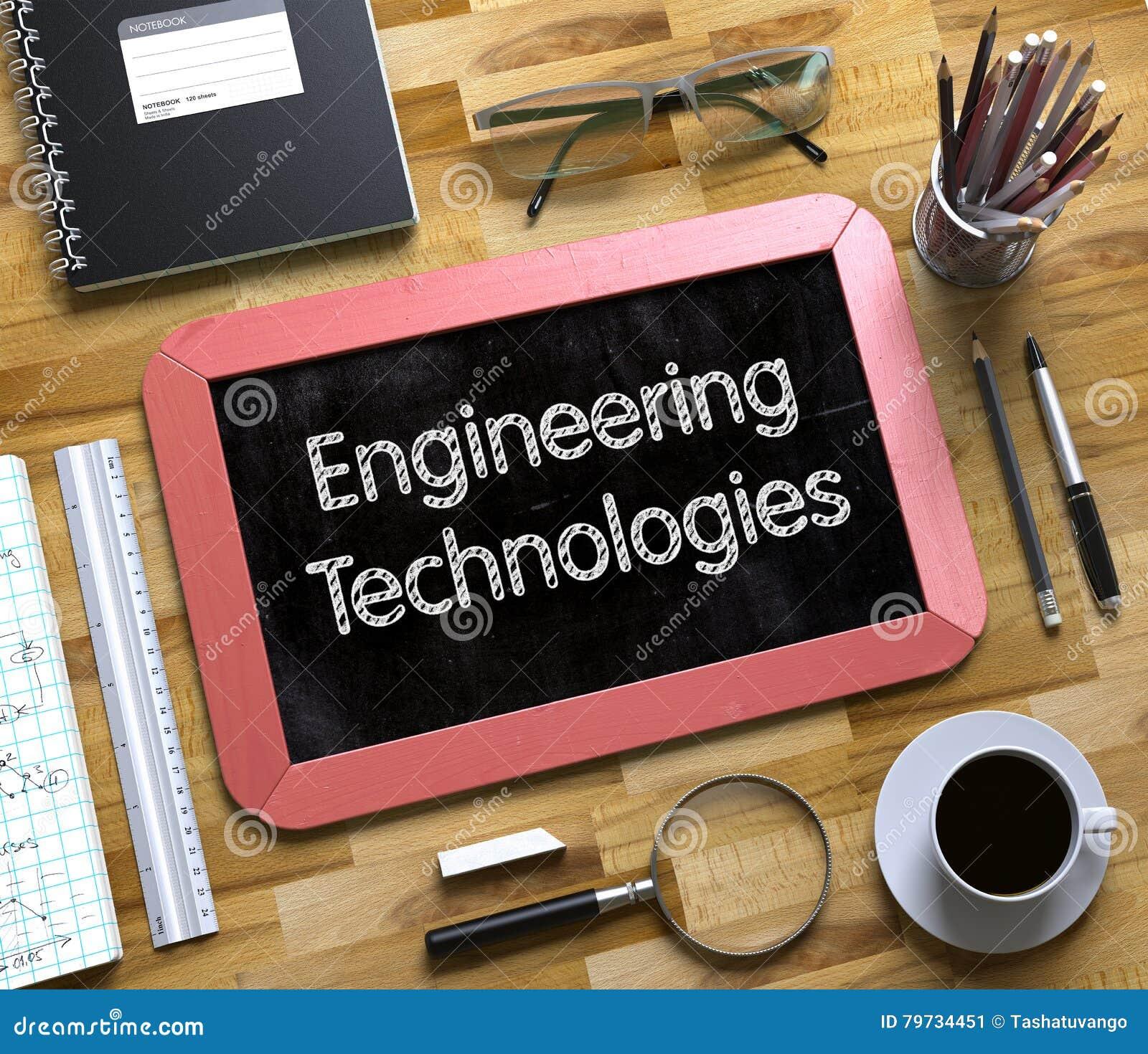 Tecnologías de la ingeniería manuscritas en la pequeña pizarra 3d