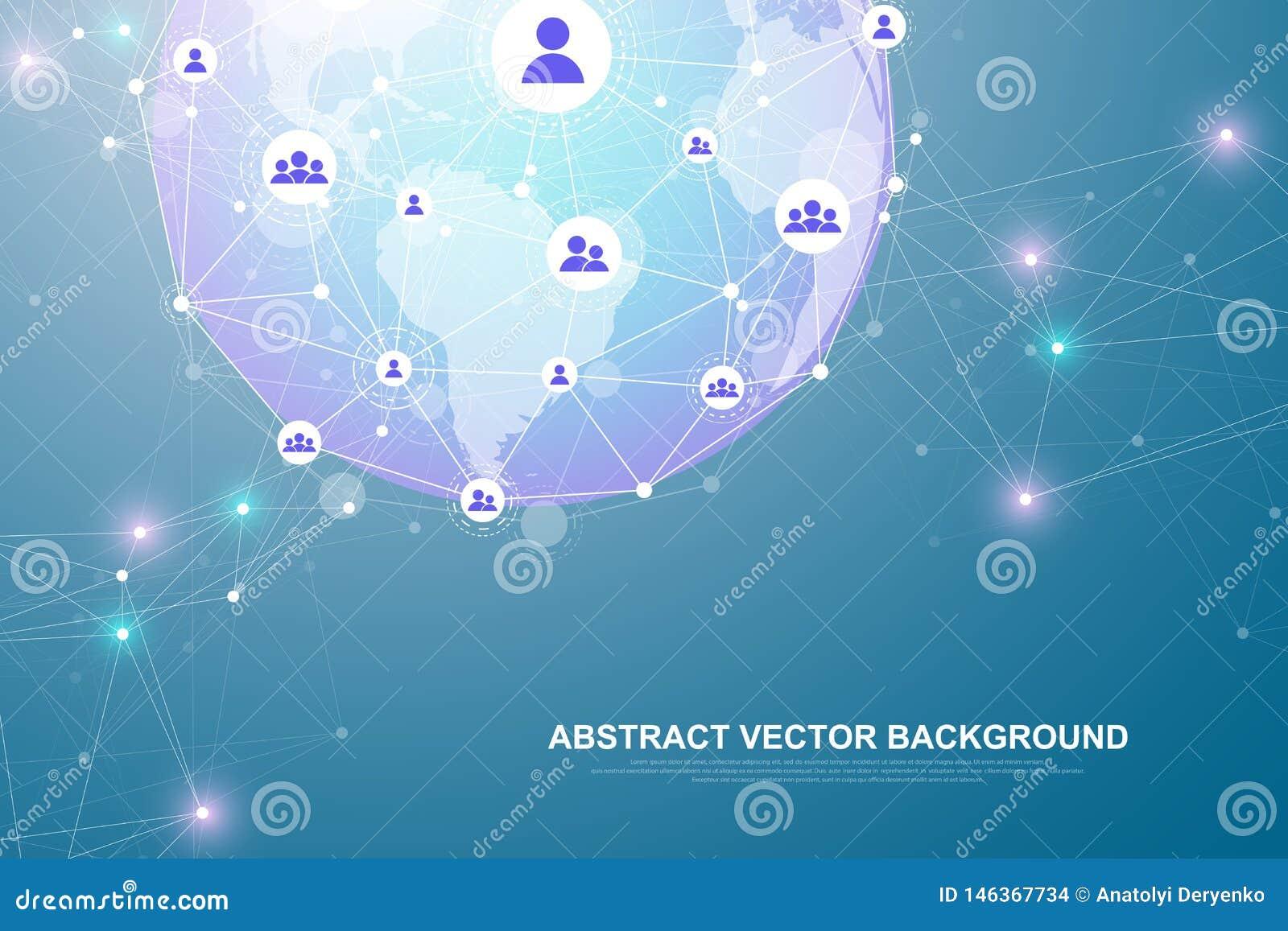 Tecnolog?a del extracto del concepto de la conexi?n del establecimiento de una red Conexiones de red global con los puntos y las