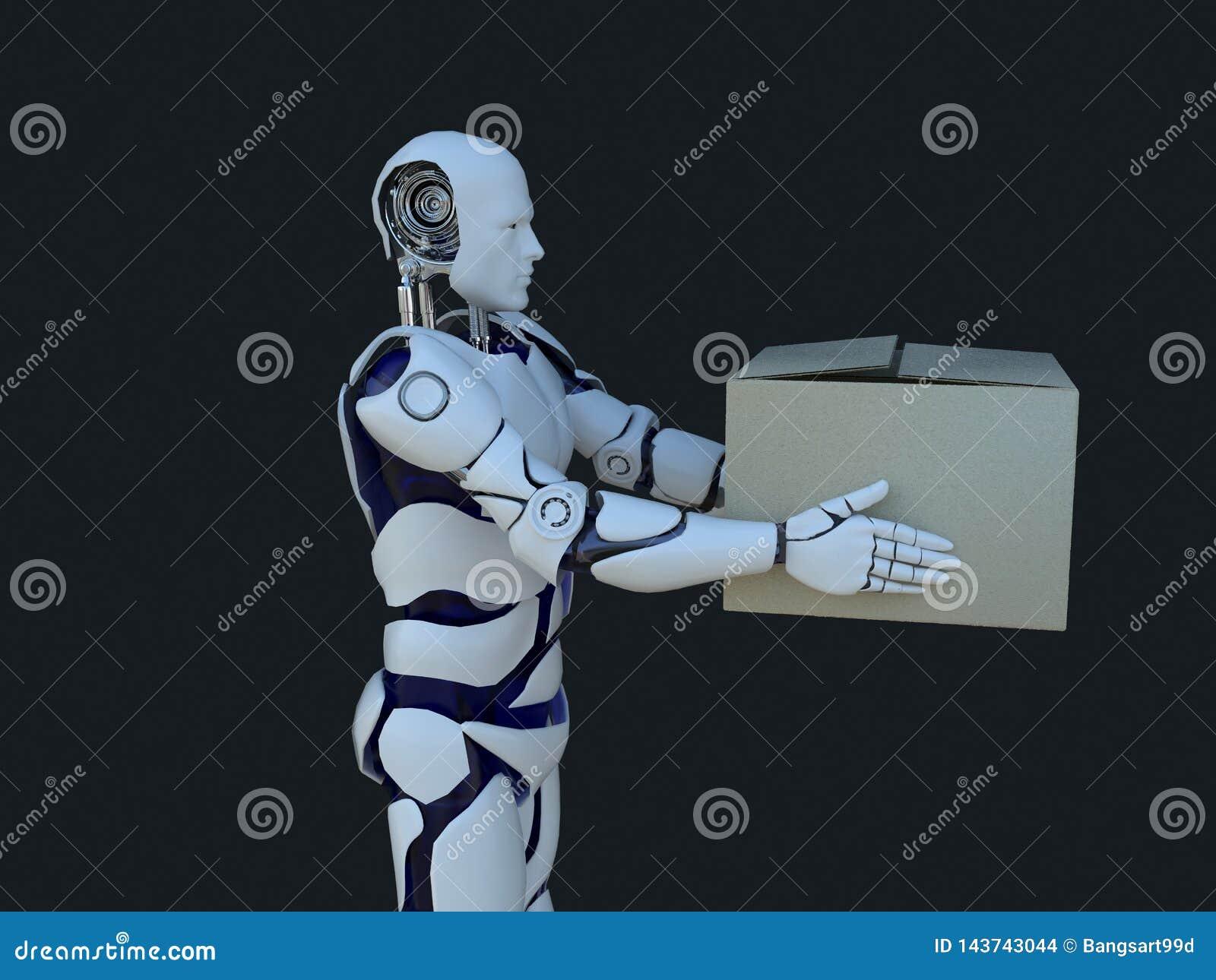 Tecnologia branca do robô que está entregando caixas tecnologia no futuro, em um fundo preto