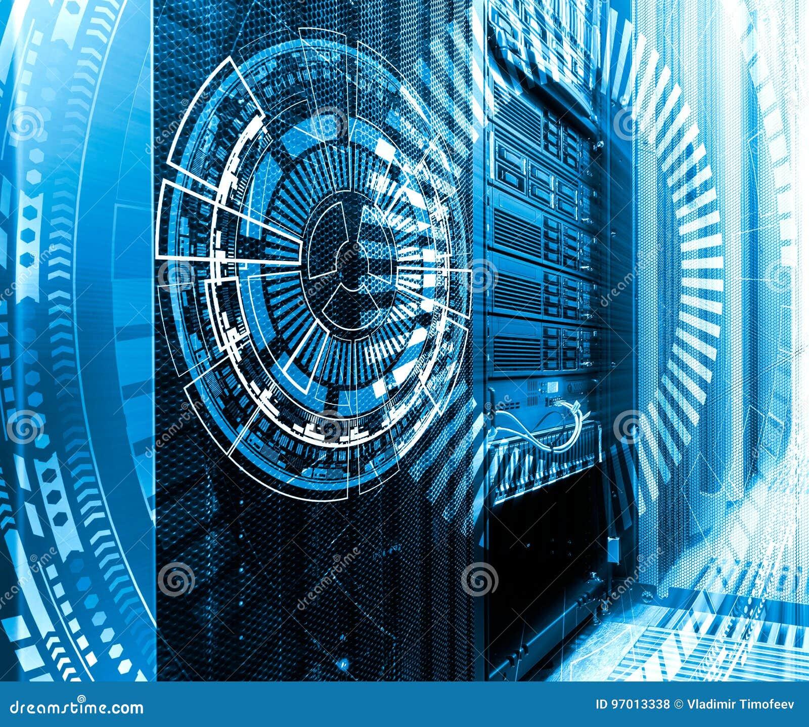 Tecnologia, Cyberspace e conceito da realidade virtual - holograma com fundo tecnologico