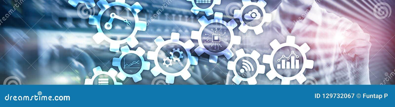 Tecnologia da automatização e conceito esperto da indústria no fundo abstrato borrado Engrenagens e ícones Bandeira de encabeçame