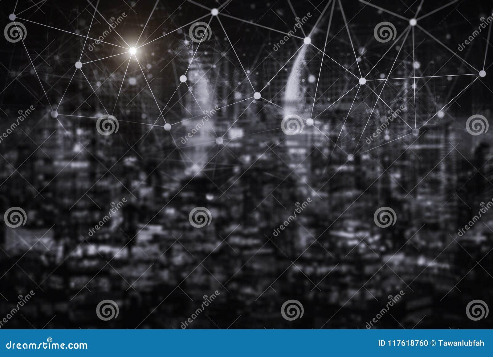 Tecnologia da conexão de rede com cidade da noite Commun do comércio eletrônico