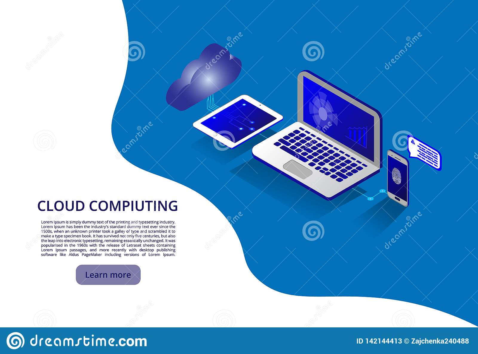 Tecnologia della nuvola e concetto moderni isometrici della rete Affare di tecnologia della nuvola di web Memoria in linea di cal