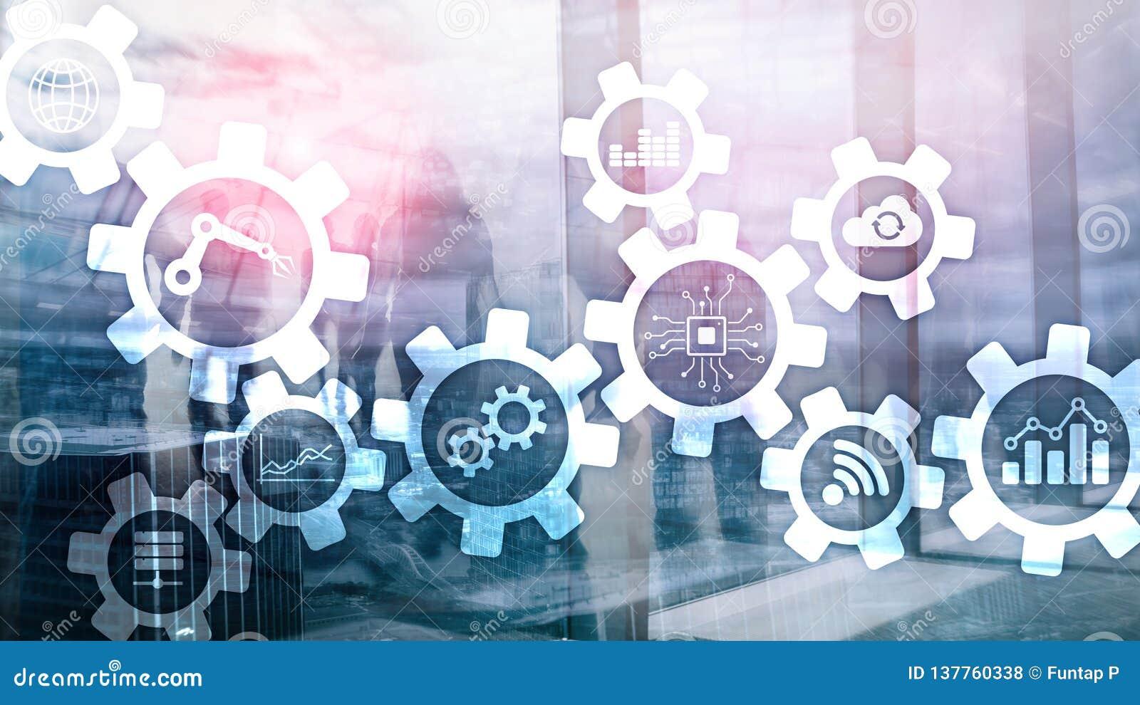 Tecnologia di automazione e concetto astuto di industria su fondo astratto vago Ingranaggi ed icone