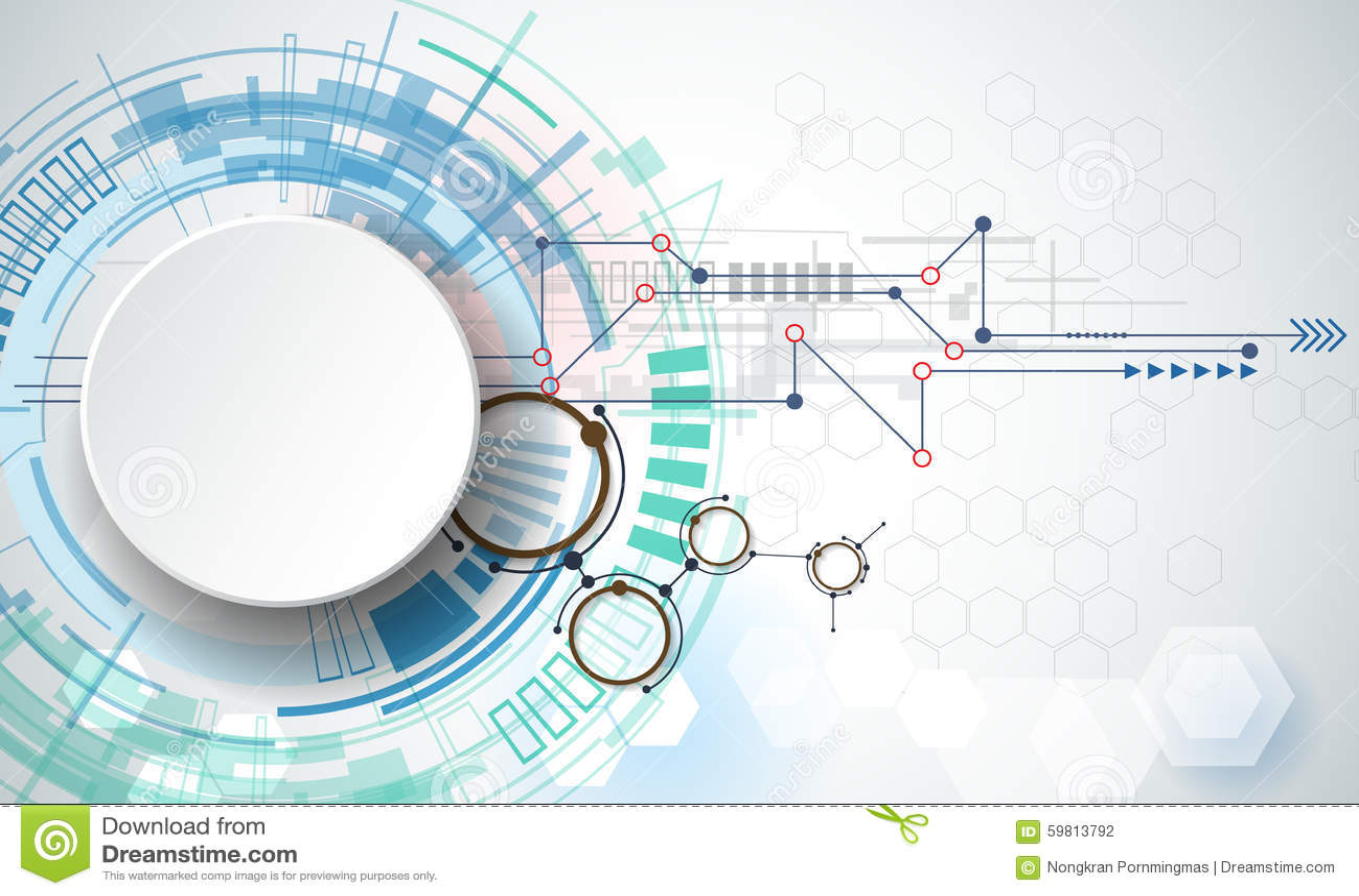 Tecnologia di ingegneria dell illustrazione di vettore Il concetto della tecnologia dell innovazione e di integrazione con carta