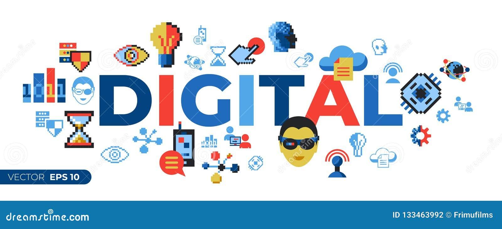 Tecnologia digital da arte do pixel do vetor de Digitas