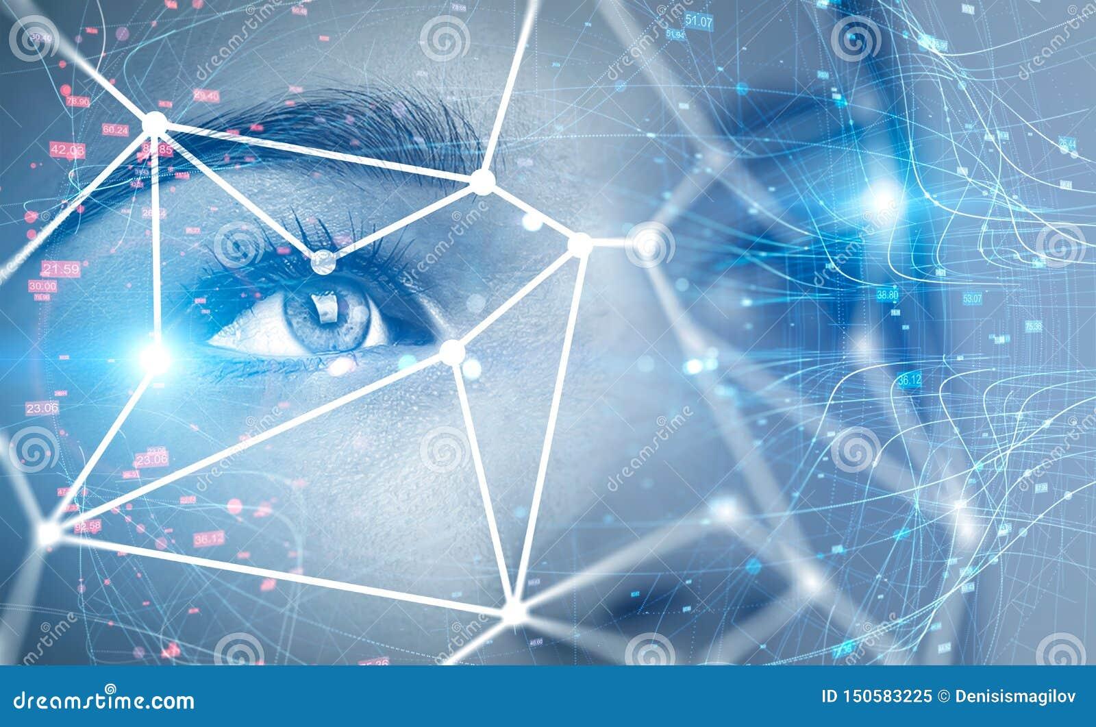 Tecnologia do reconhecimento da cabeça e de cara da mulher