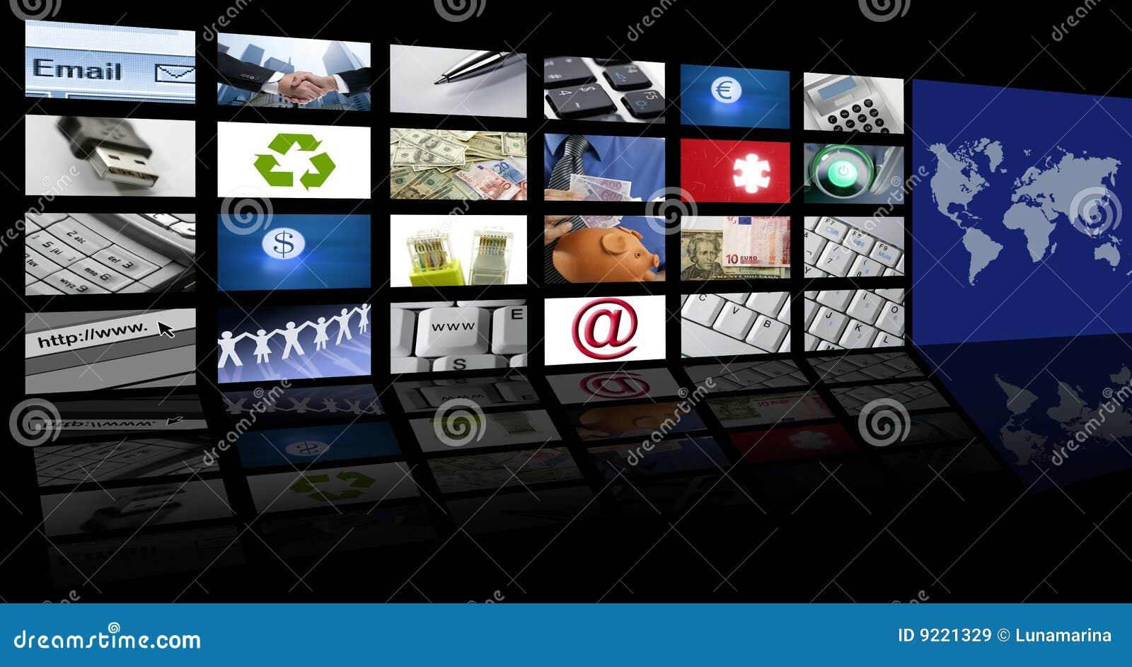 Tecnologia e comunicações video da tela da tevê