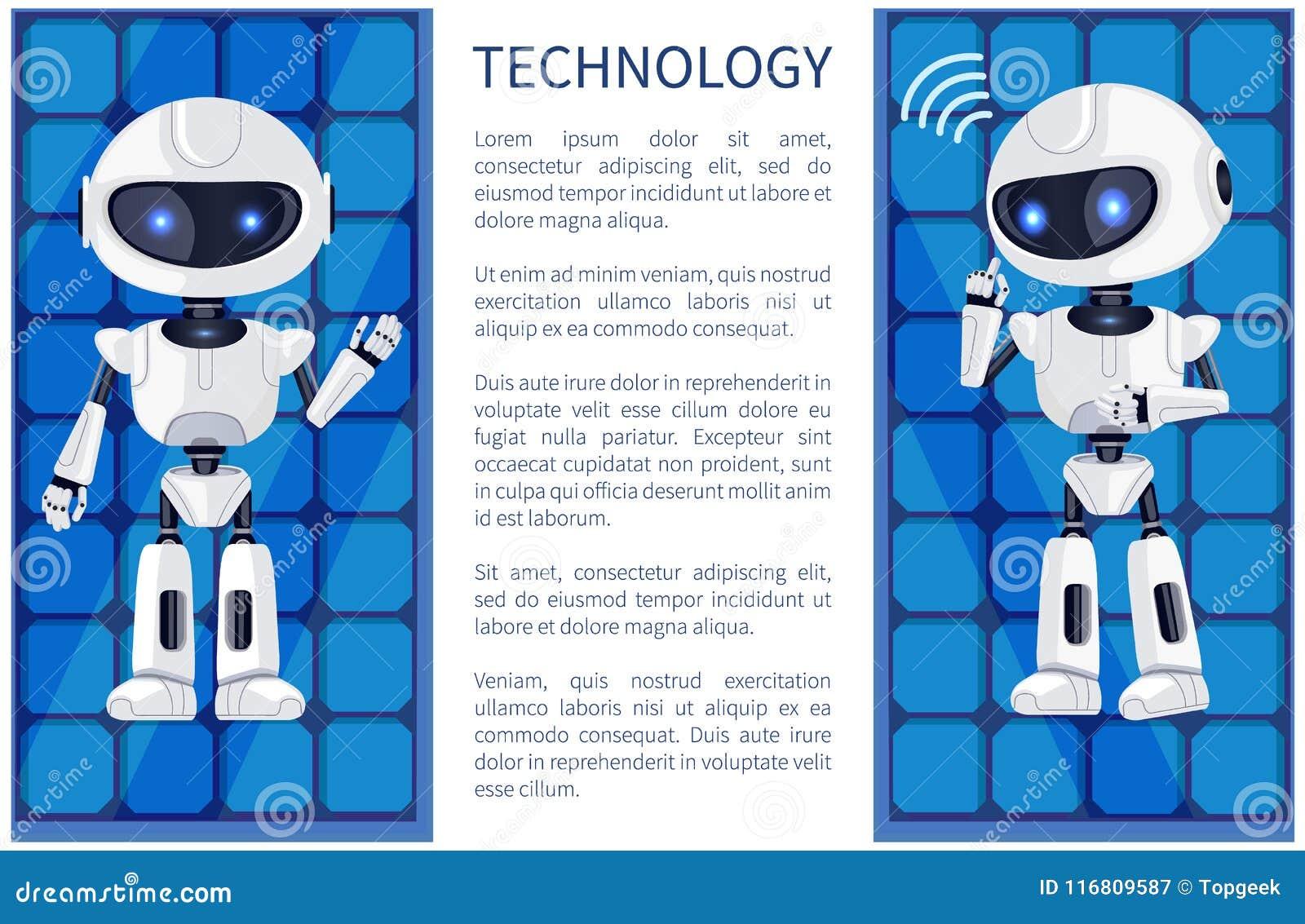 Tecnologia ed illustrazione di vettore del manifesto del robot